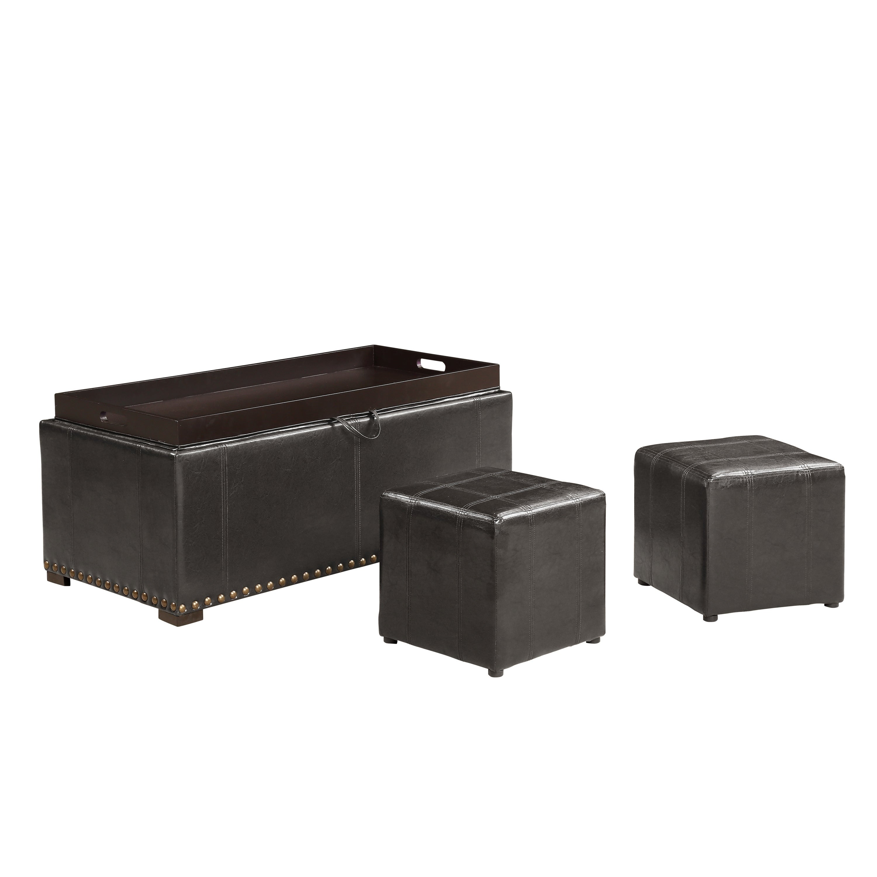 Shop Leather Nailhead Storage Ottoman Bench Cube Set   On Sale   Free  Shipping Today   Overstock.com   22701511