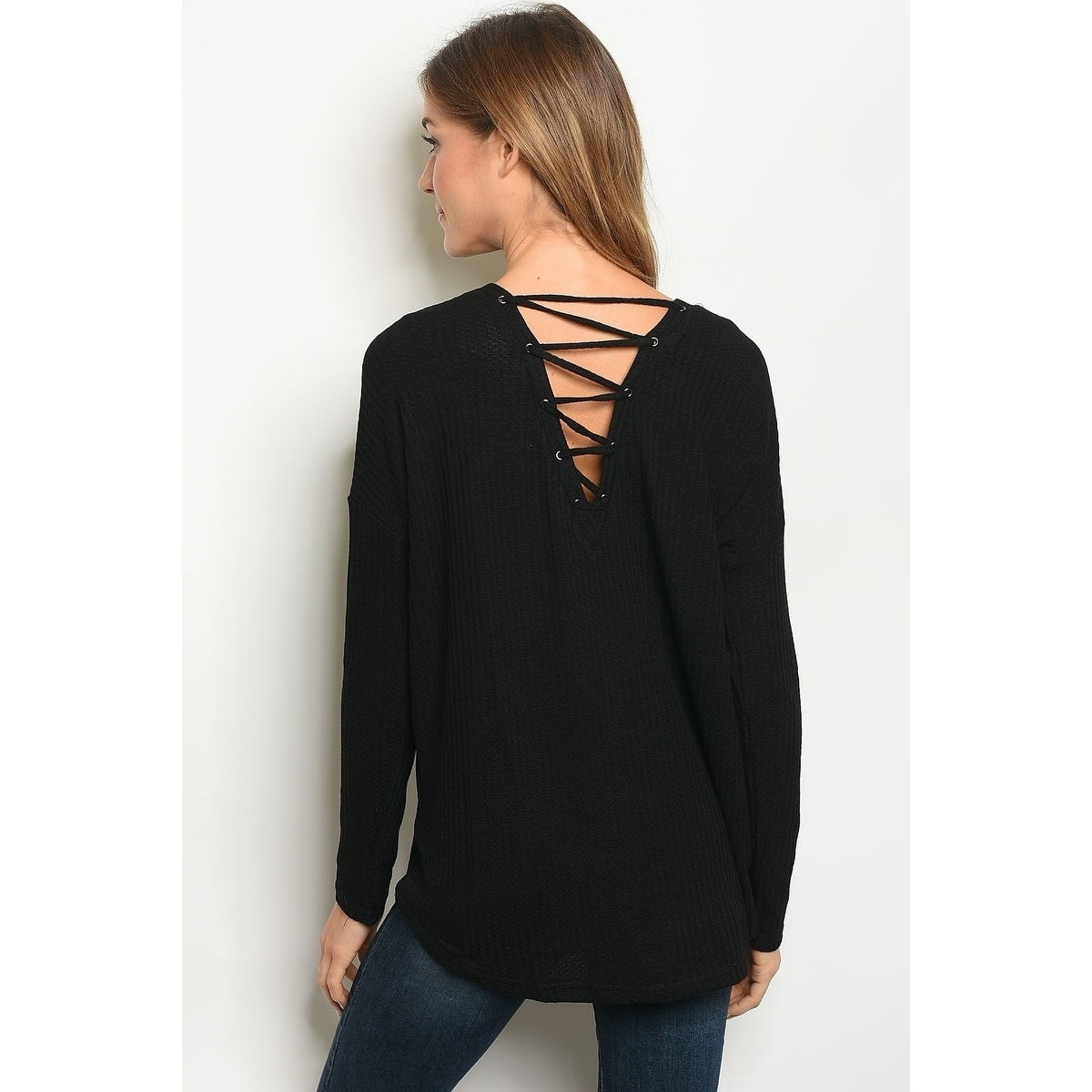 9b0a79de7e Shop JED Women s Long Sleeve Waffle Knit Lace-Up Top - On Sale - Free  Shipping On Orders Over  45 - Overstock - 22701574