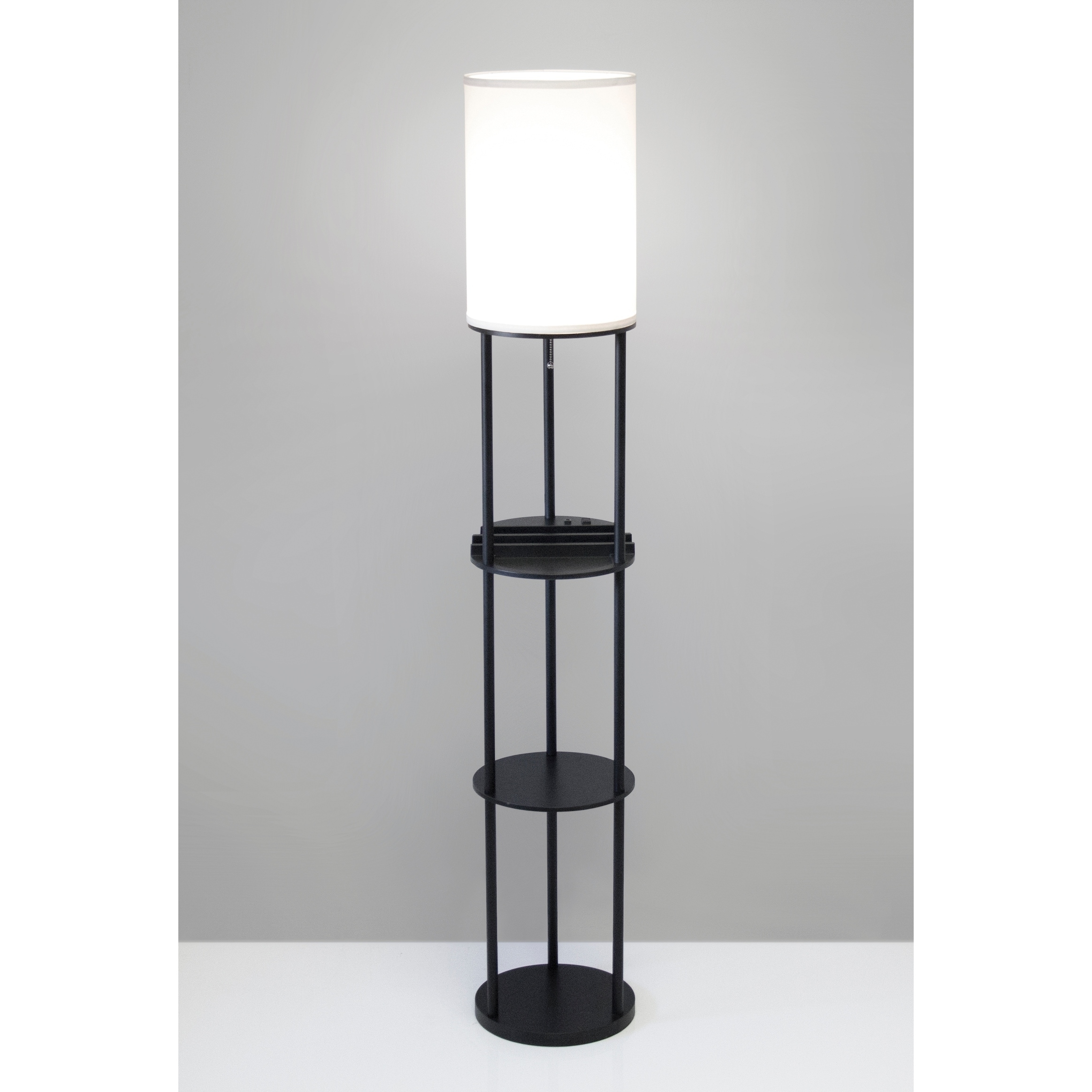 Shop Adesso Charging Station Shelf Floor Lamp Free Shipping Today