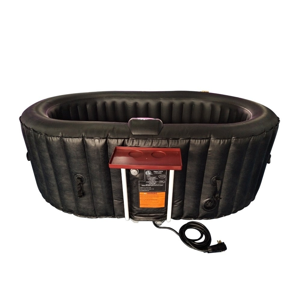 Shop ALEKO Oval Inflatable Hot Tub Spa With Drink Tray and Cover 2 ...