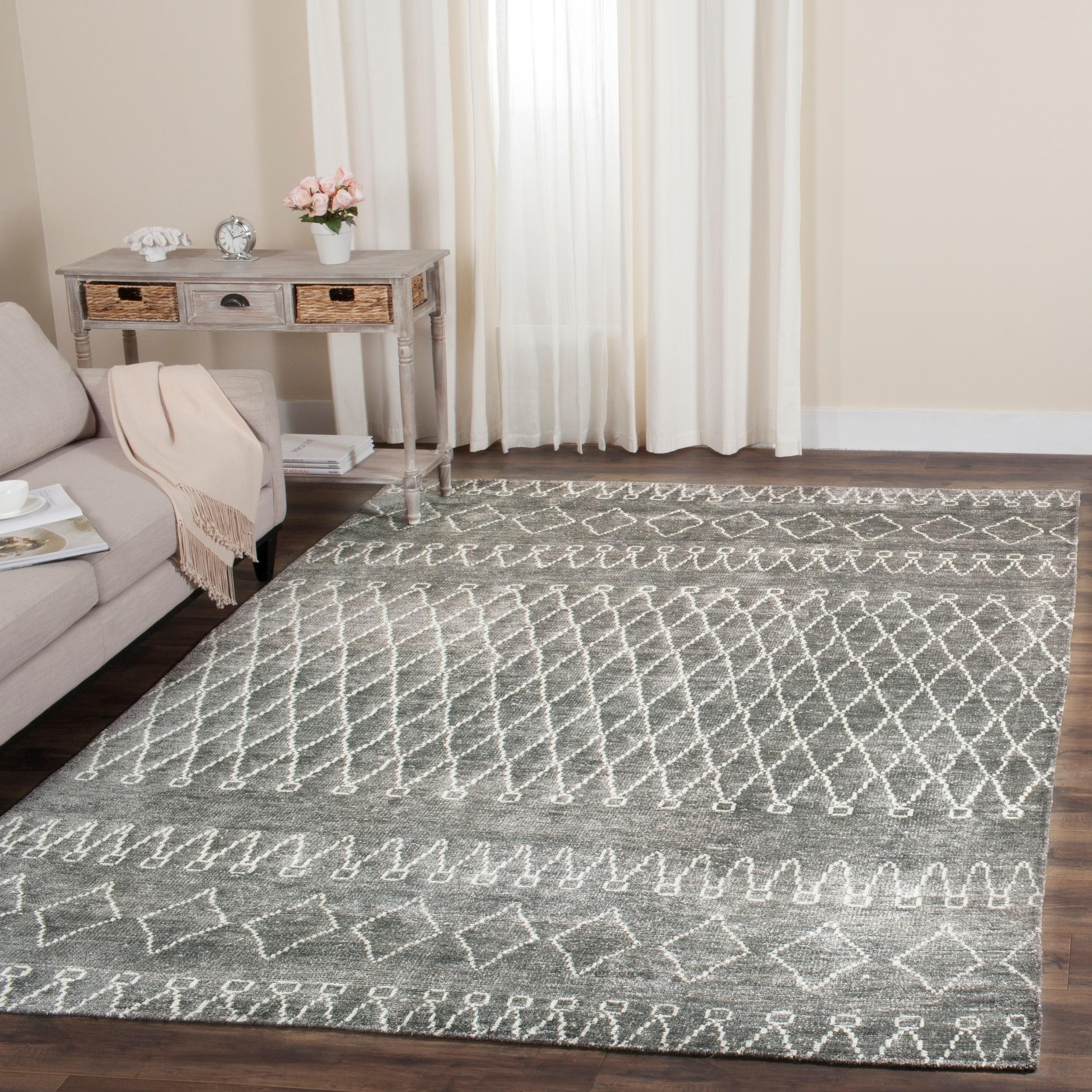 Safavieh hand knotted stone wash traditional oriental grey beige viscose rug 9 x 12