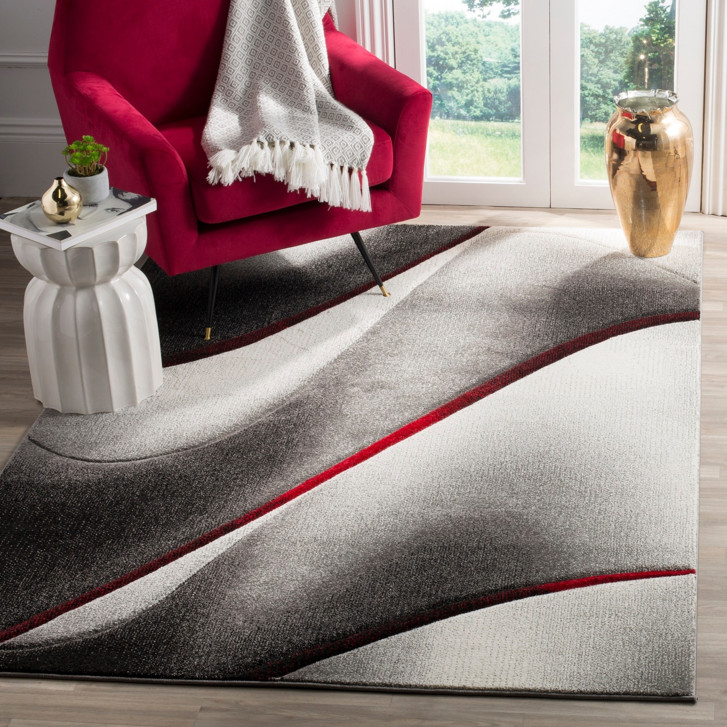 Shop Safavieh Hollywood Mid-Century Modern Abstract Grey / Red Rug ...
