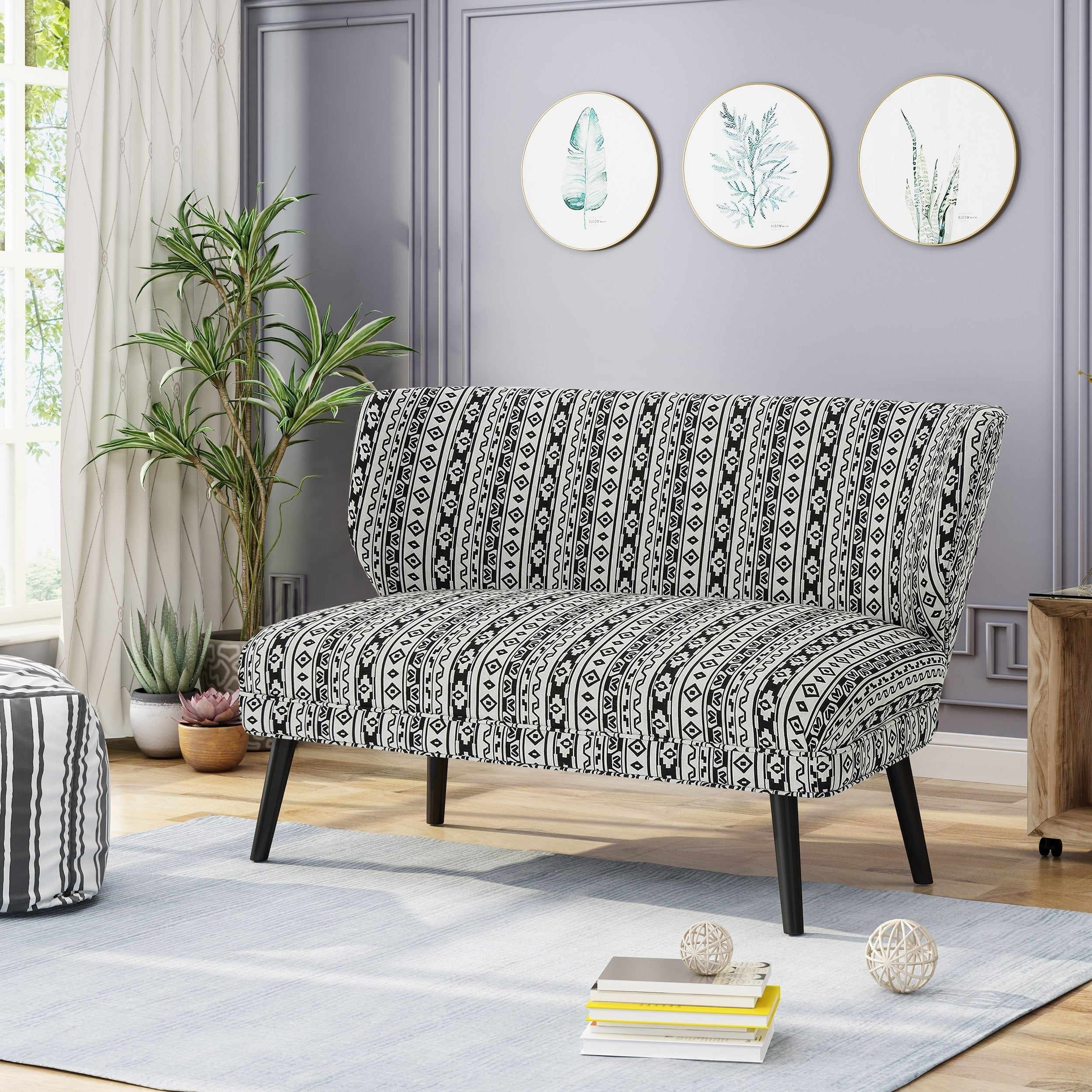 Shop Desdemona Modern Farmhouse Fabric Settee By Christopher Knight Home