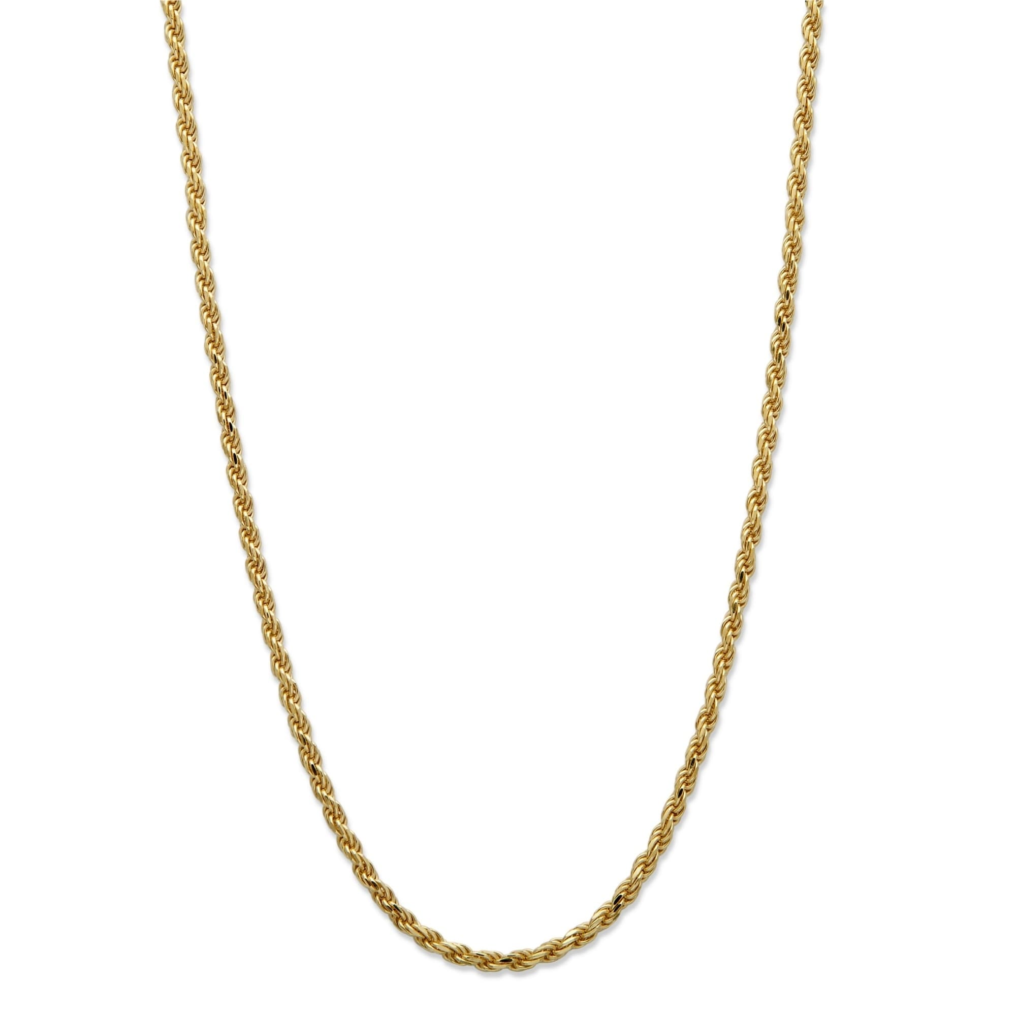 624b5eff0 Shop Yellow Gold over Sterling Silver Rope Chain Necklace (2mm), 18 ...