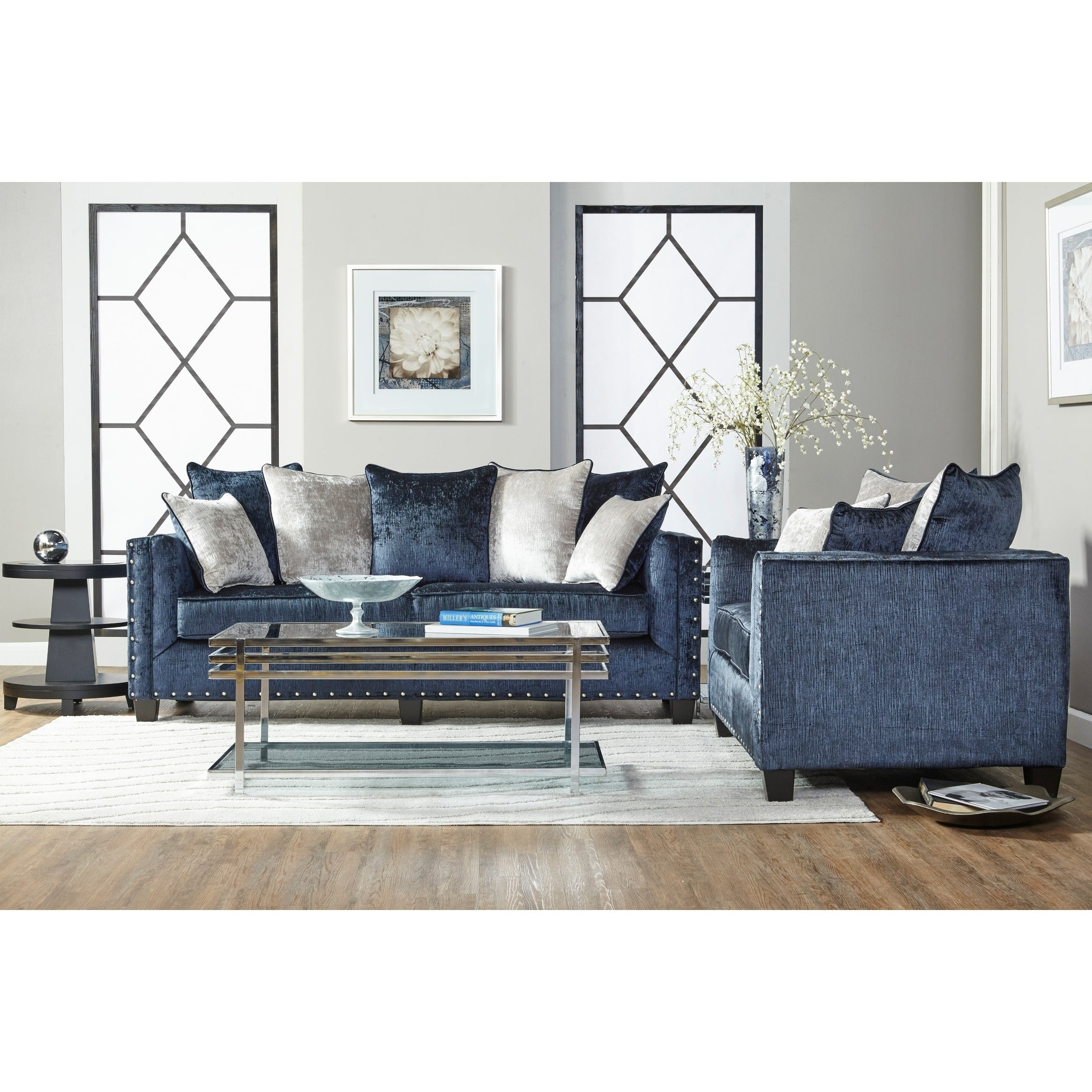 Shop Ikat Grand Blue Velvet Sofa Set With Nail Head Accent   Free Shipping  Today   Overstock.com   22723405