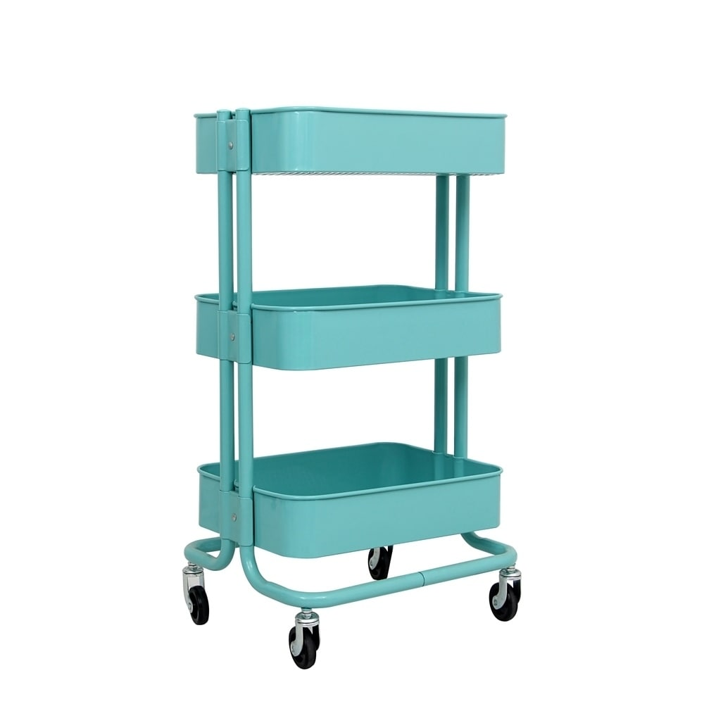 shop aleko lightweight carbon steel 3 tier rolling utility cart light blue on sale free shipping today overstockcom 22723435 - Rolling Utility Cart