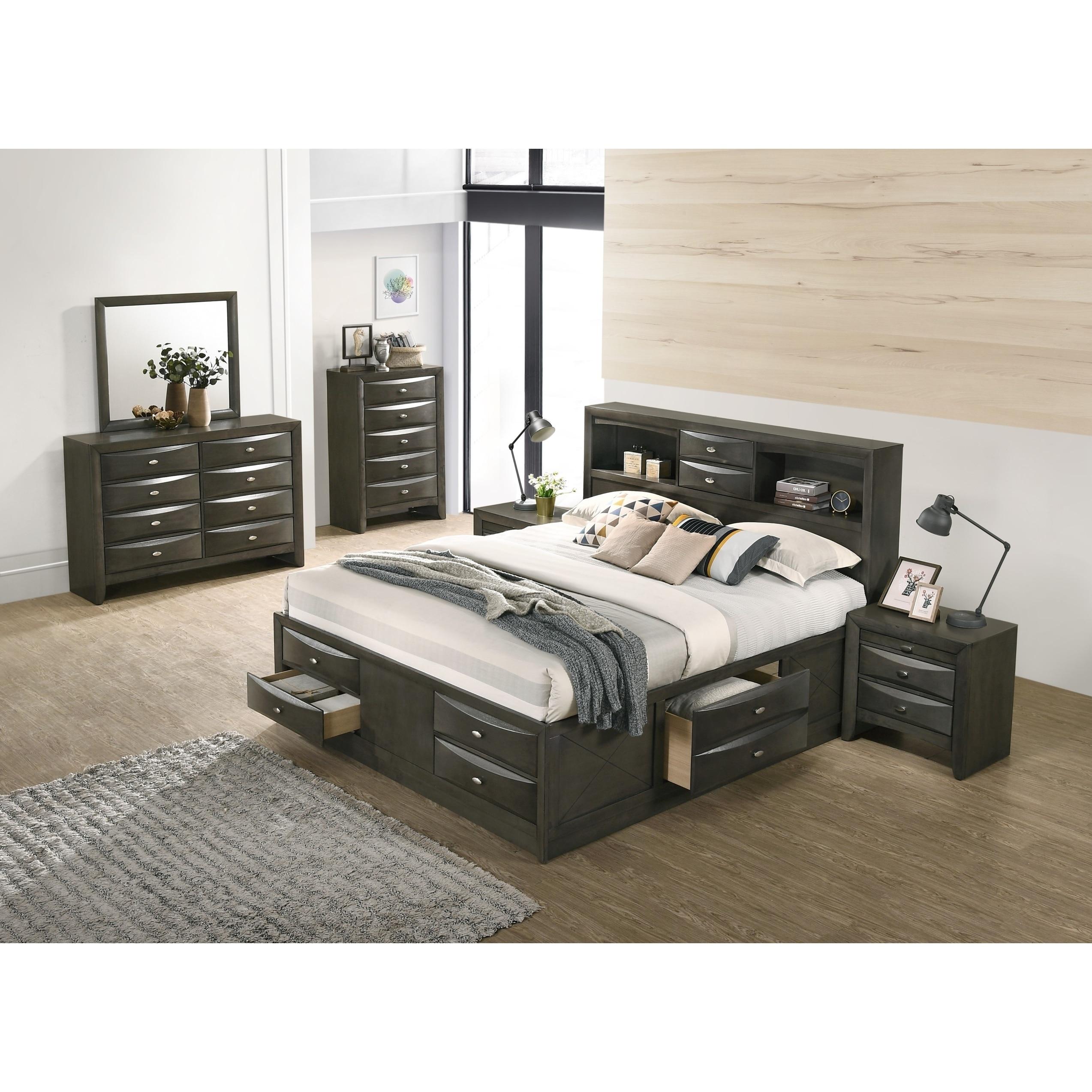 Leslie gray finish bed set bookcase headboard storage platform bed dresser mirror 2 night stands chest