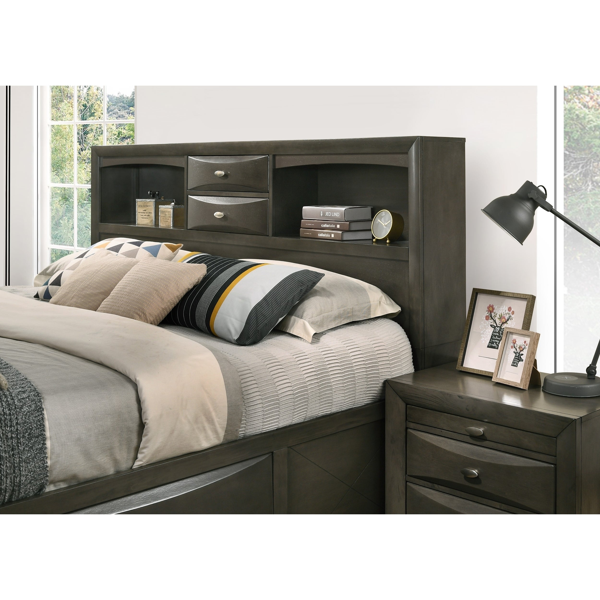 Shop Leslie Bookcase Headboard Storage Platform Bed  Ships To