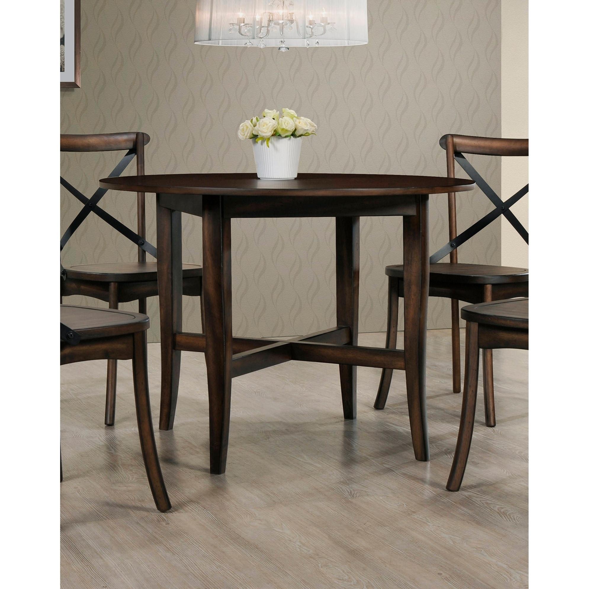 Best master furniture hillary burnished oak finish wood round dining table