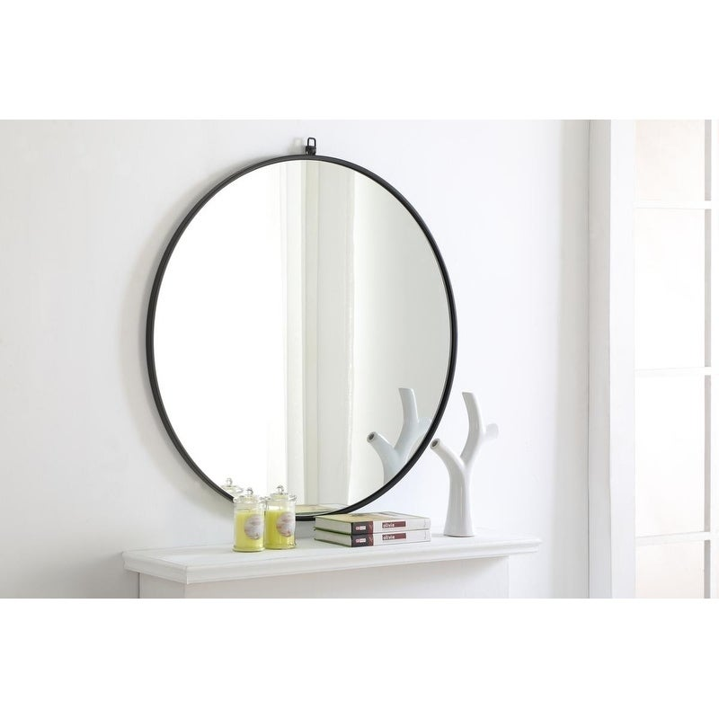 36 inch round mirror oversized shop round 36inch metal frame mirror with decorative hook free shipping today overstockcom 22731318
