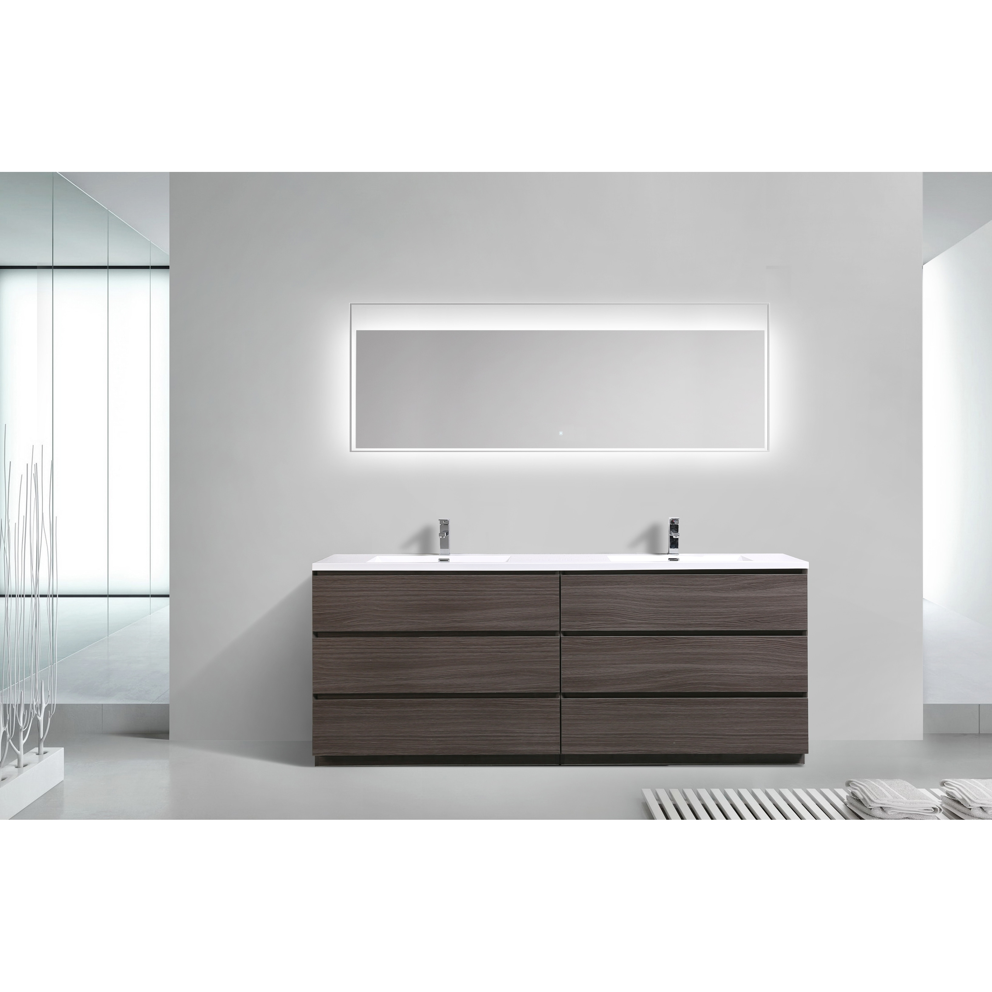 Moreno Bath MOA 84 Inch Free Standing Modern Bathroom Vanity With  Reinforced Acrylic Double Sink