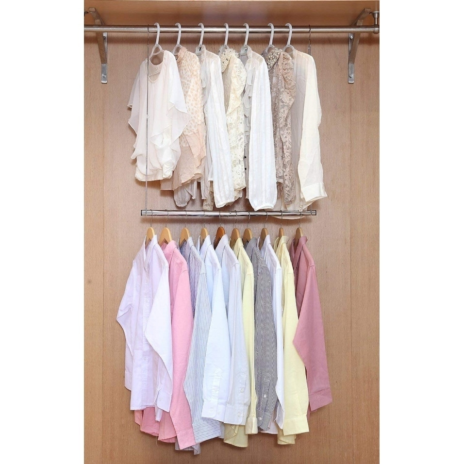 Shop Double Hanging Closet Rod Organizer With Adjustable Horizontal Rod    Free Shipping On Orders Over $45   Overstock.com   22734518