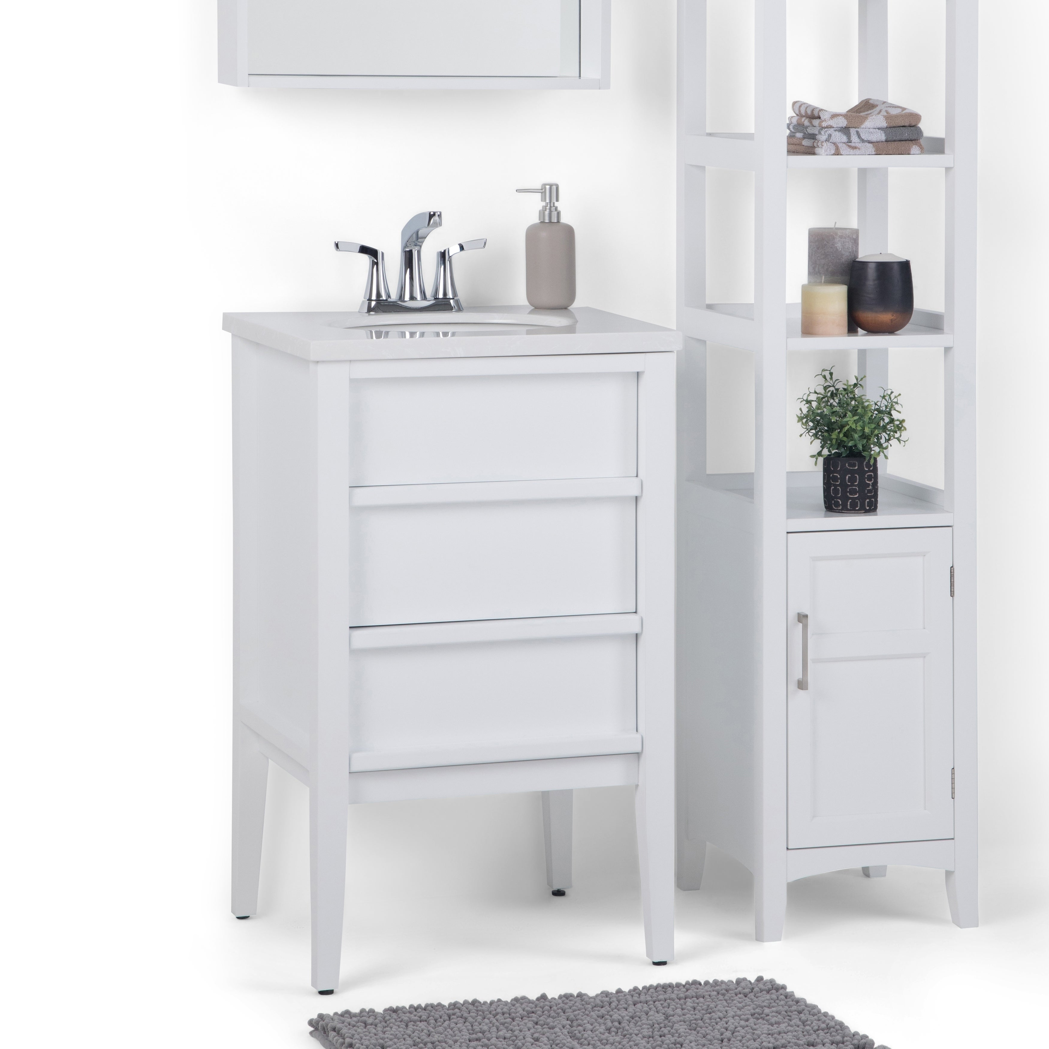 Shop WYNDENHALL Dustin 20 inch Modern Bath Vanity with White Veined Light Grey Extra Thick Engineered Marble Top - On Sale - Free Shipping Today ...