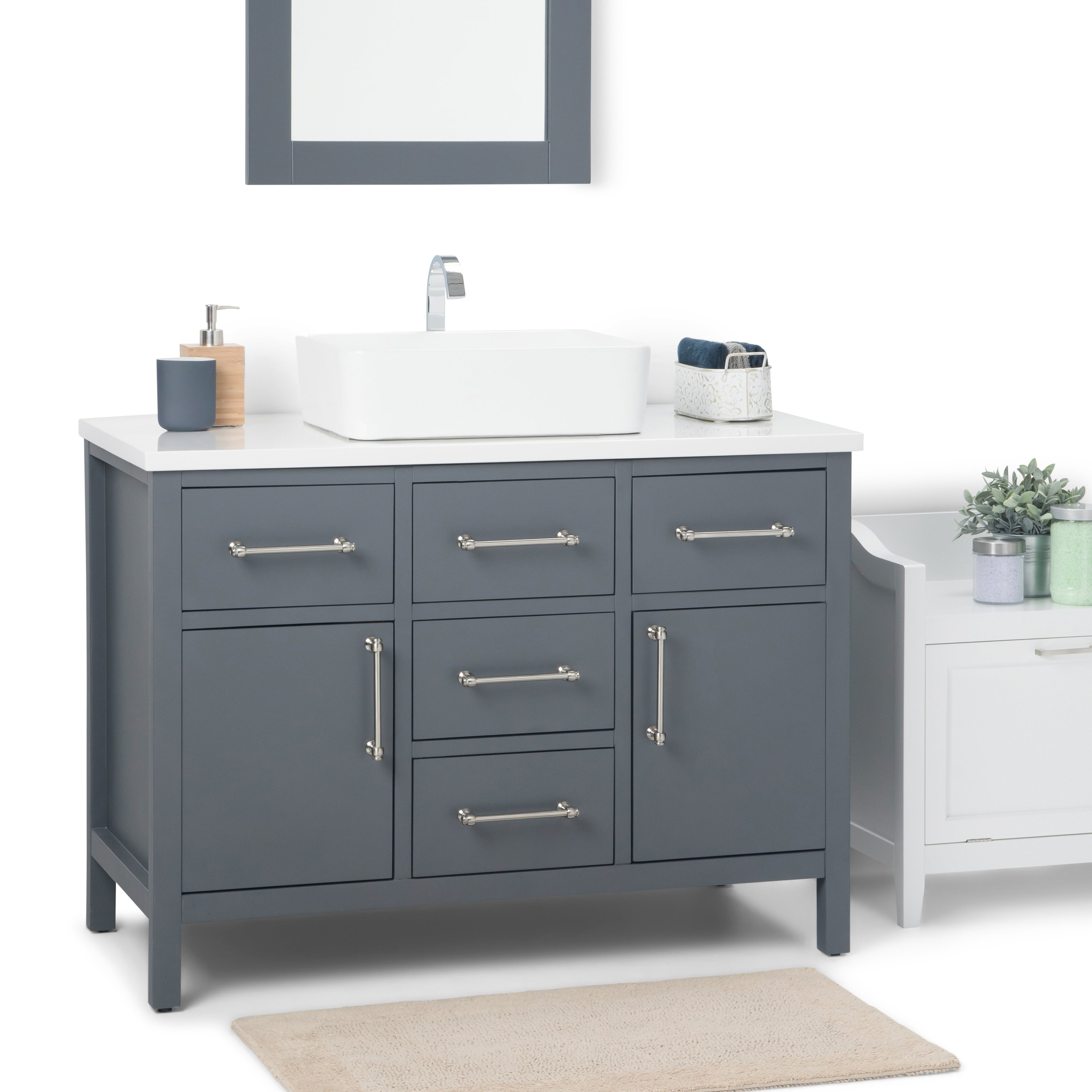 42 Inch Bathroom Vanity | Shop Wyndenhall Farley 42 Inch Modern Bath Vanity With White