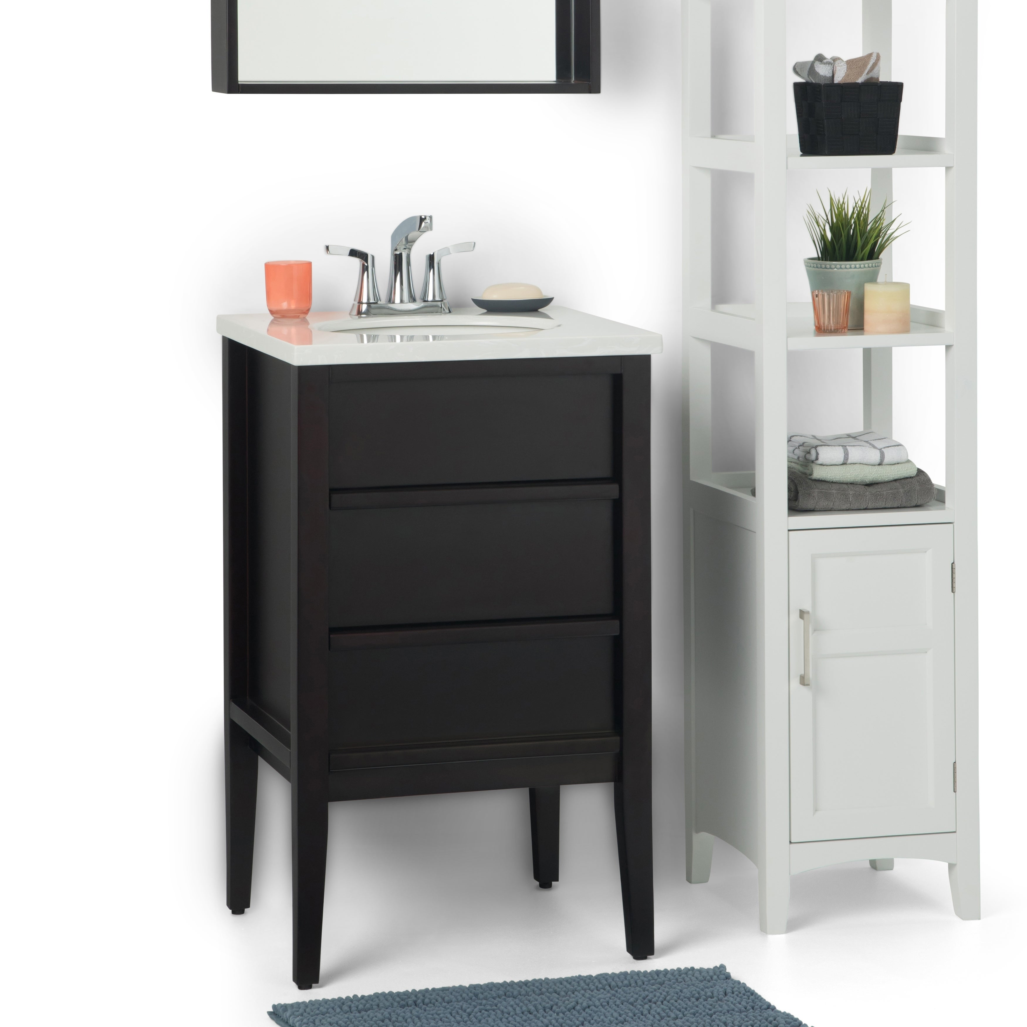 Shop WYNDENHALL Dustin 20 inch Modern Bath Vanity with Extra Thick White Veined Light Grey Engineered Marble Top - On Sale - Free Shipping Today ...