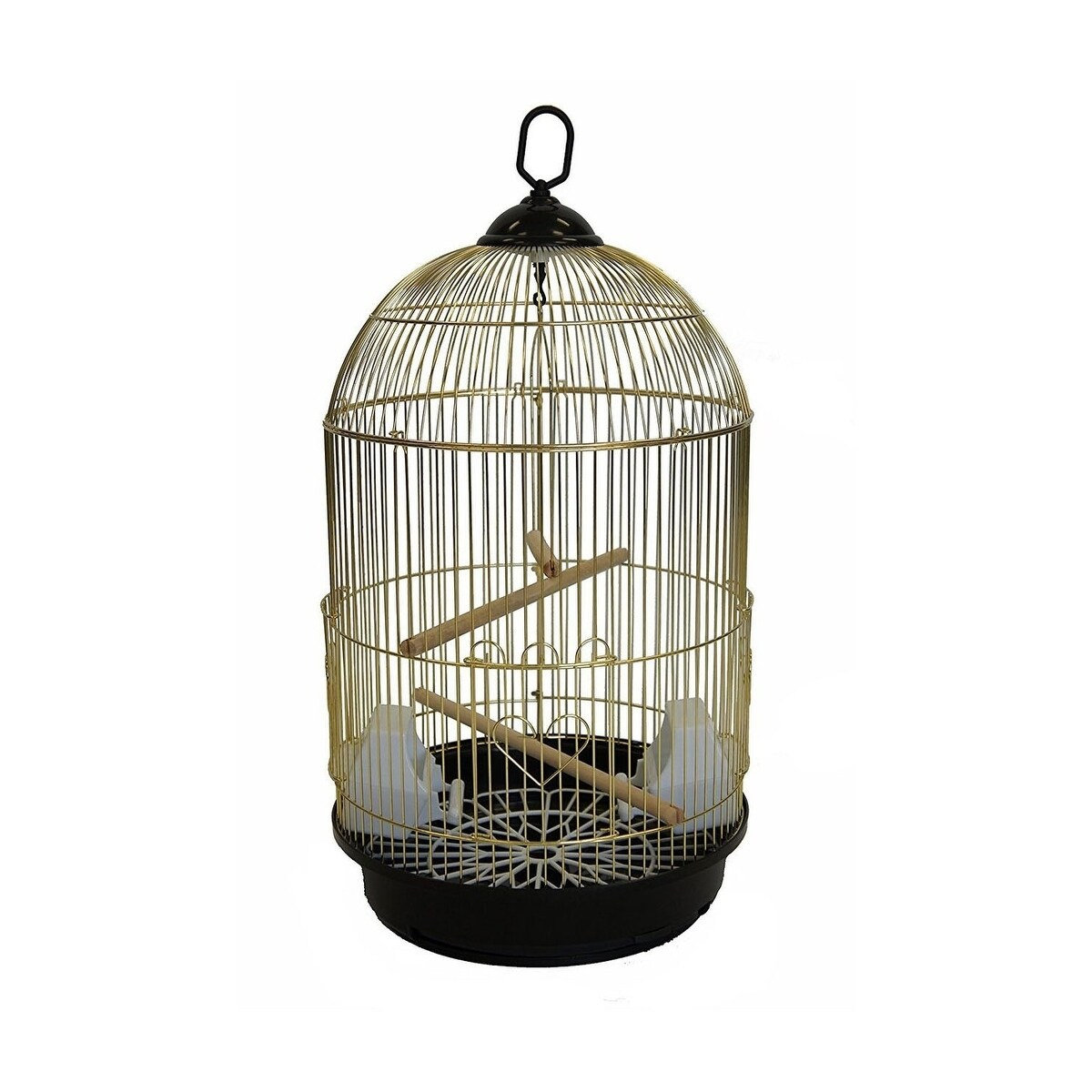 Shop yml a1564brass bar spacing round bird cage with removable plastic tray small brass free shipping today overstock 22744334