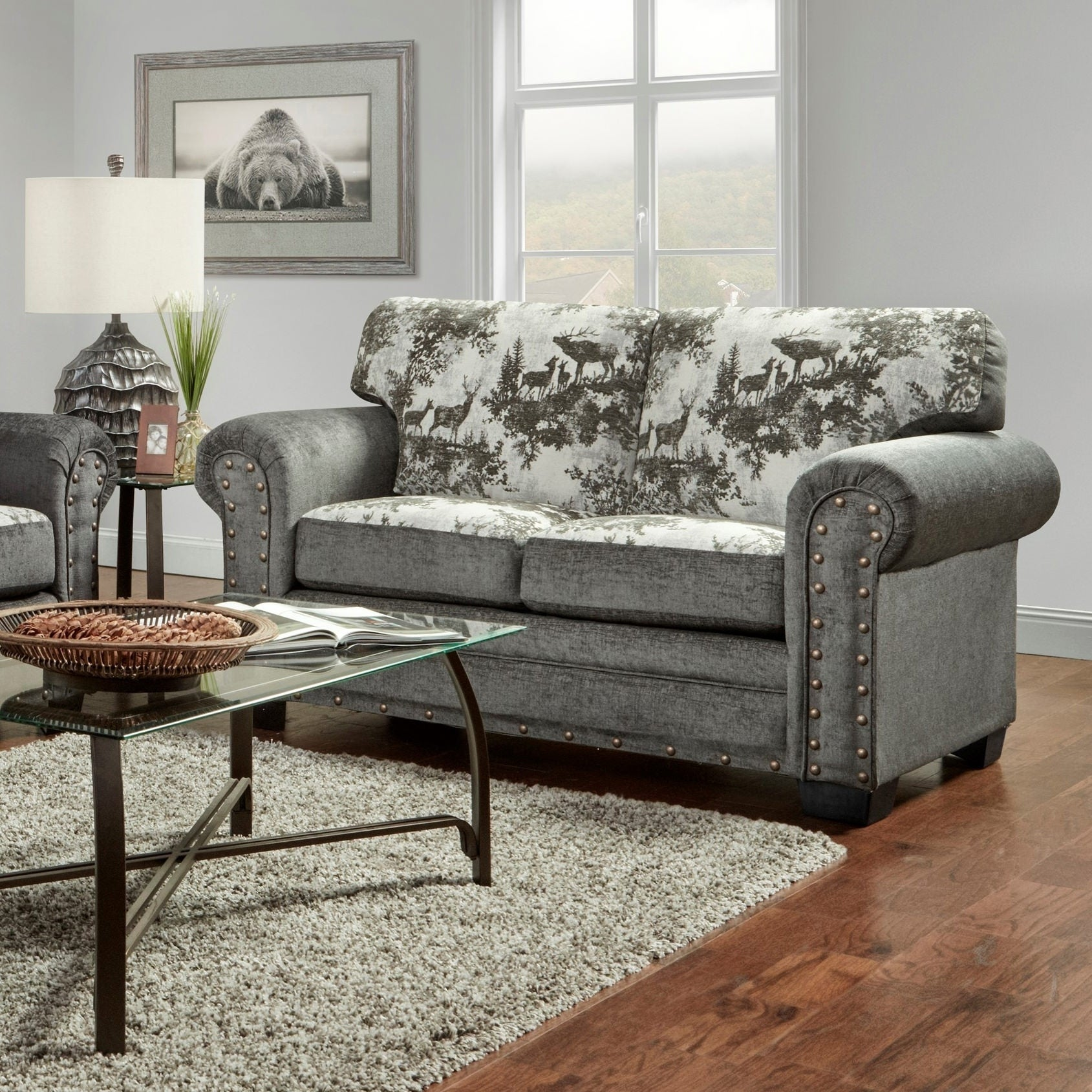 American Furniture Classics Model B8502 Elk River Lodge Loveseat With Nail Head Accents