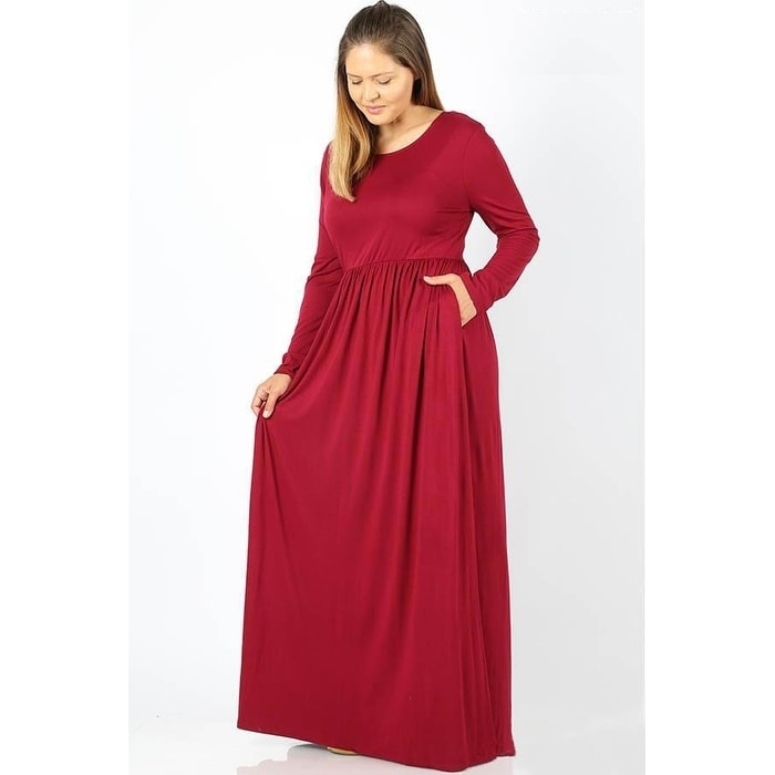 Shop JED Women\'s Plus Size Long Sleeve Solid Stretchy Knit Maxi ...