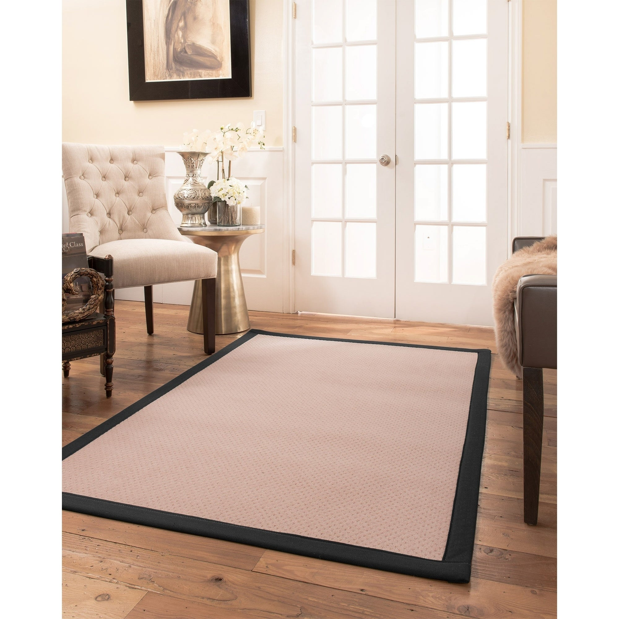 100 Naturalarearug Eloise Area Rug Natural Wool Hand Crafted Black Wide Canvas Border 5 X 8 Free Shipping Today