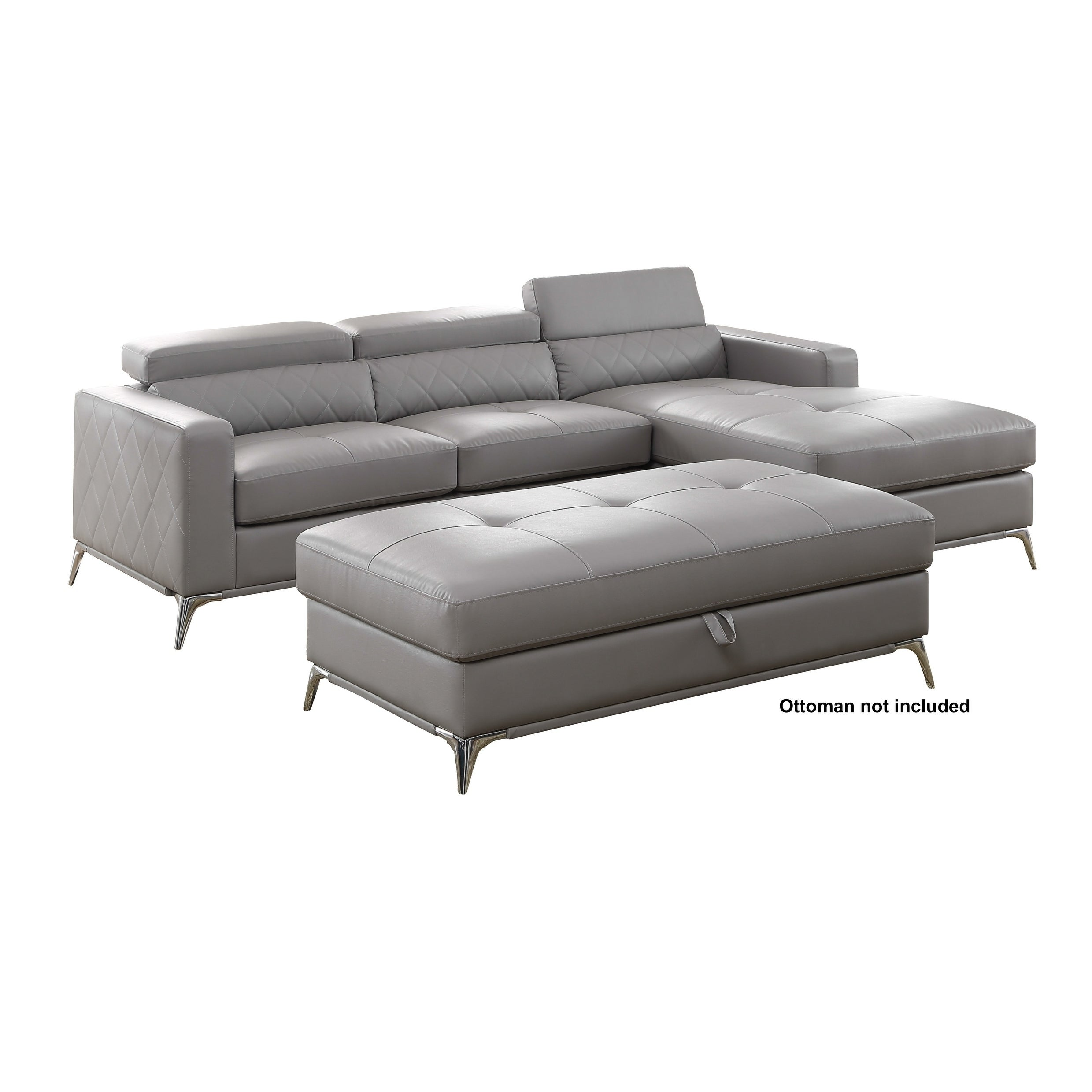 Shop Grey Faux Leather Right Facing Chaise Sectional Sofa Free
