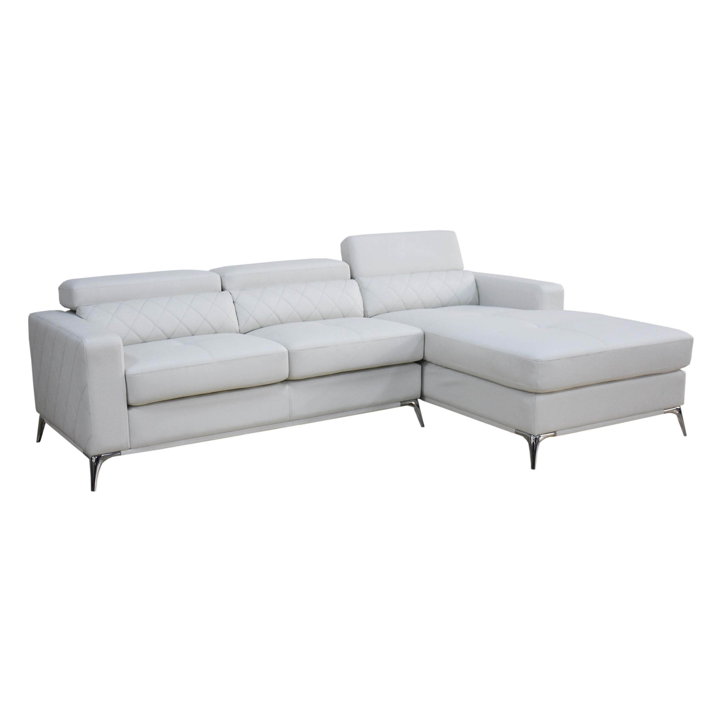 Shop White Faux Leather Sectional Sofa Right Facing Chaise Free