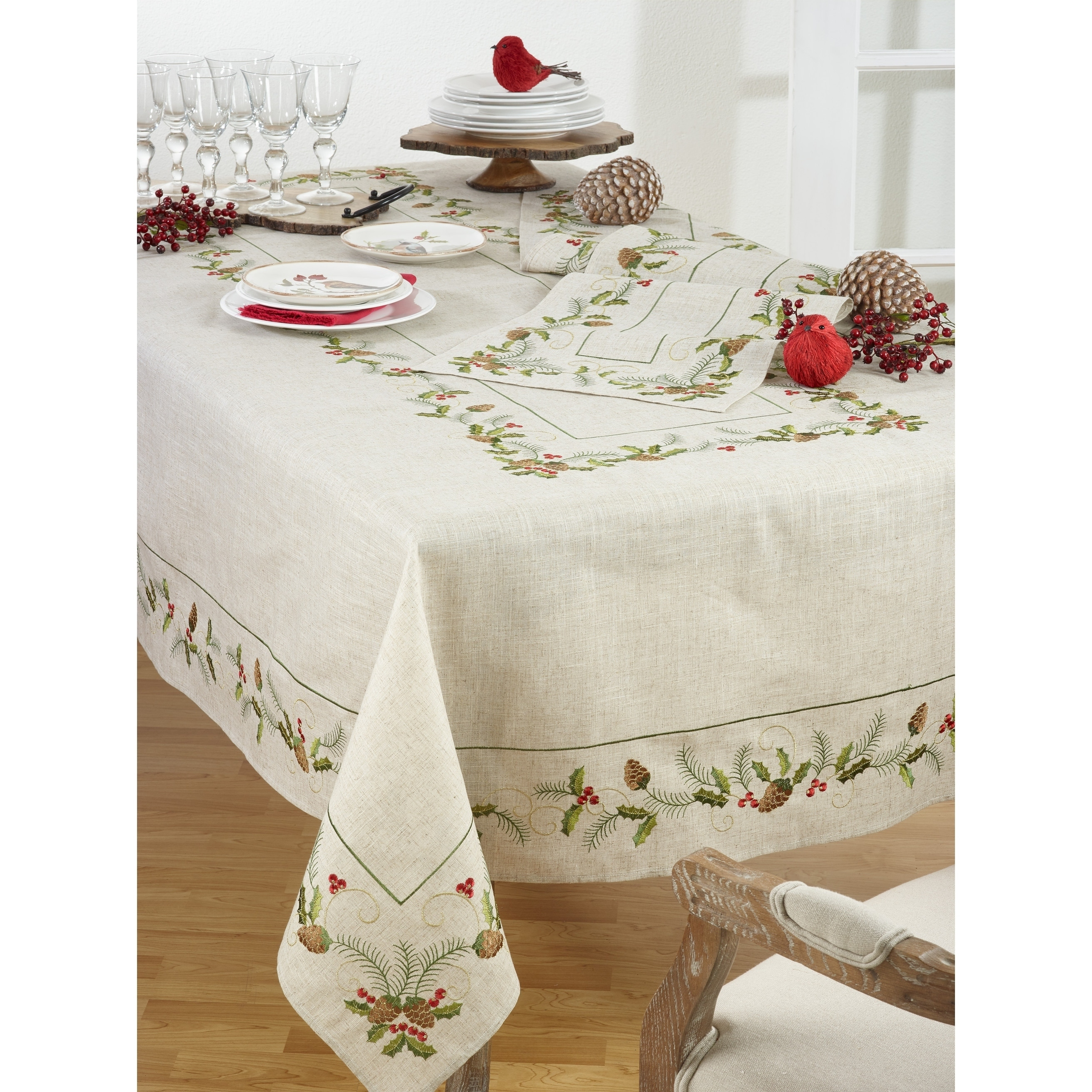 Shop Christmas Tablecloth With Beautiful Pinecone And Holly Print