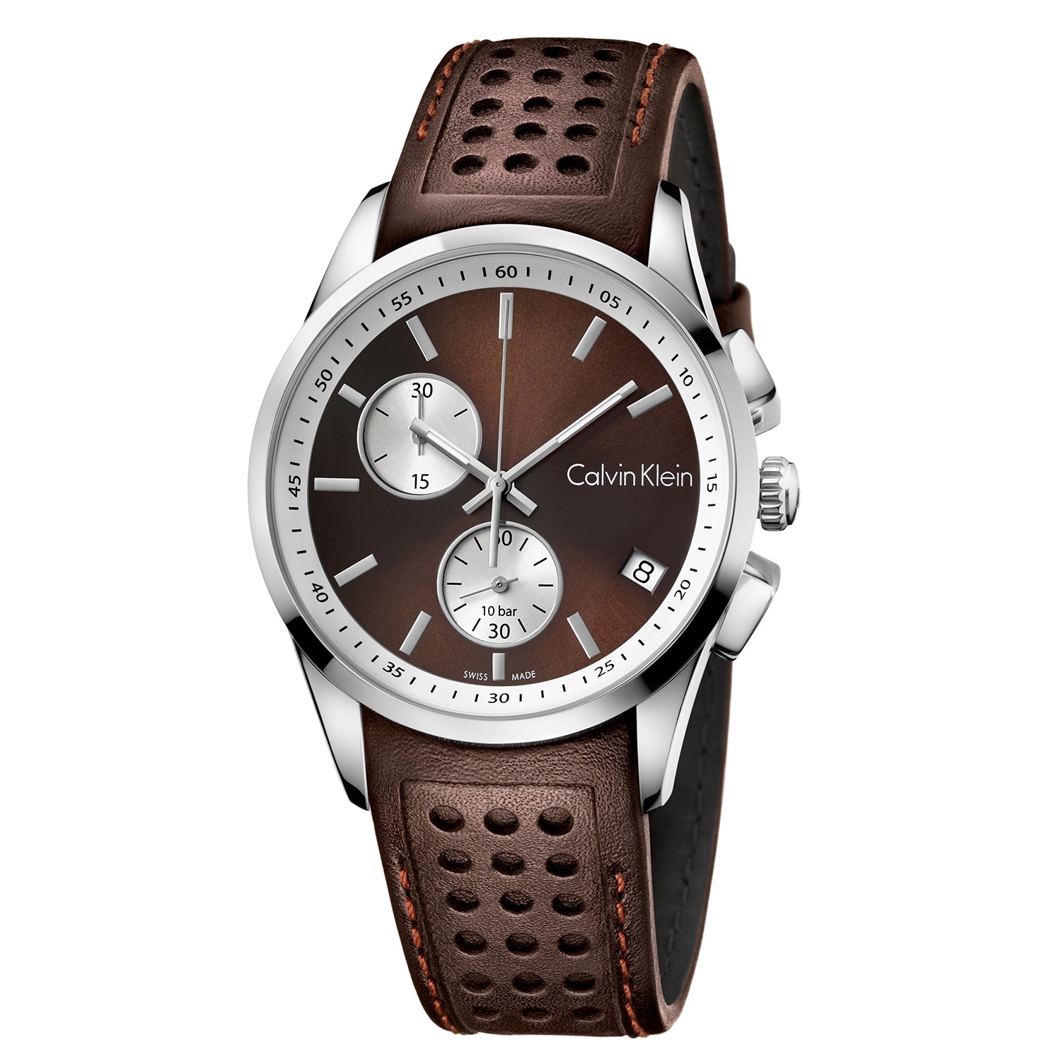 832ab0752 Shop Calvin Klein Bold Brown Leather Strap Men's Watch - Free Shipping  Today - Overstock - 22750661
