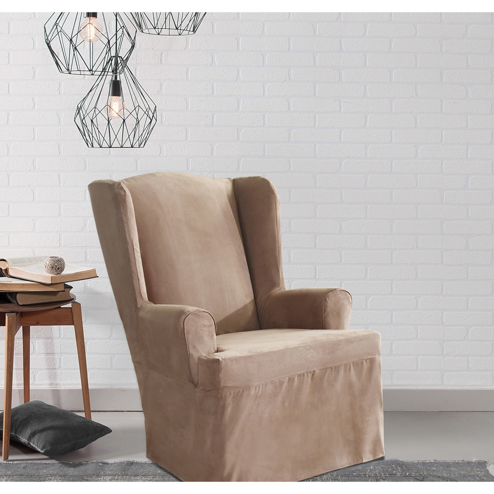 Shop Sure Fit Smooth Suede Wing Chair Slipcover - Free Shipping ...