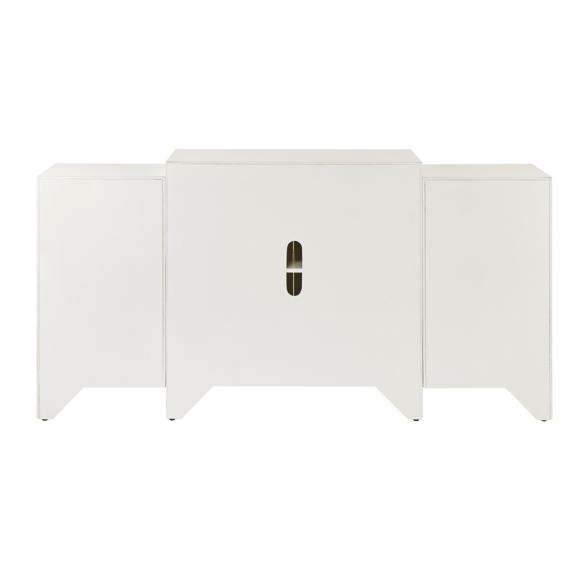 Shop Madison Park Nevaeh Cream Dining Buffet Server Quaterfoil Design  Kitchen Storage Cabinet With Mirrored Doors   Free Shipping Today    Overstock.com   ...