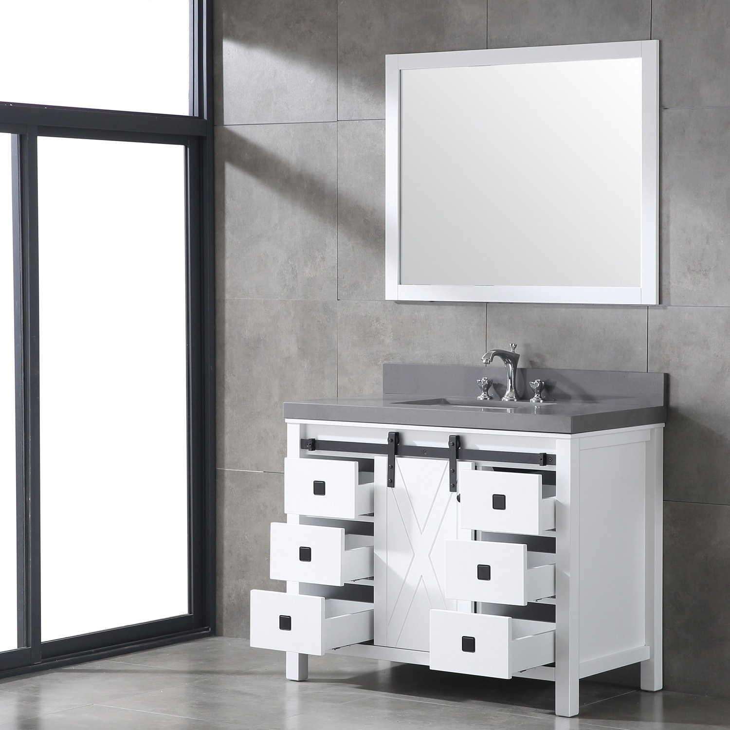 Shop Eviva Dallas 42 in. White Bathroom Vanity - Free Shipping Today ...