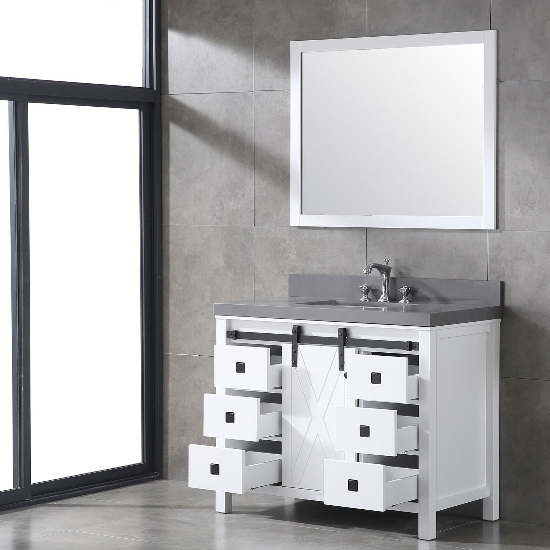 Shop Eviva Dallas White Wood Finish 42-inch Bathroom Vanity with ...