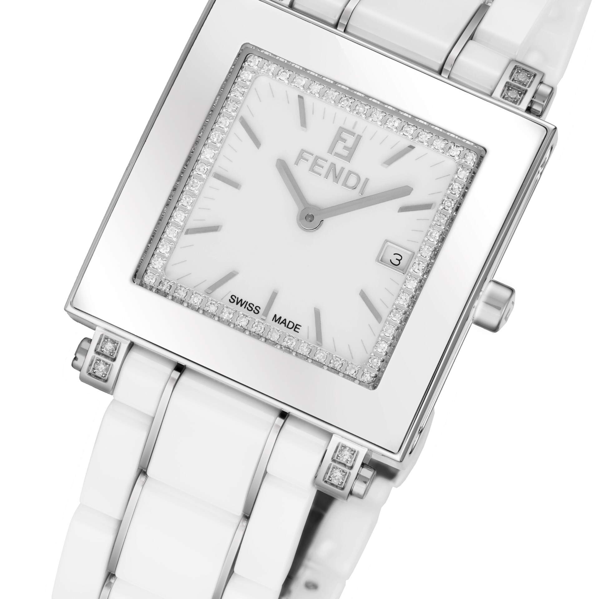 Shop Fendi Womens F622140ddc Ceramic White Diamond Dial White