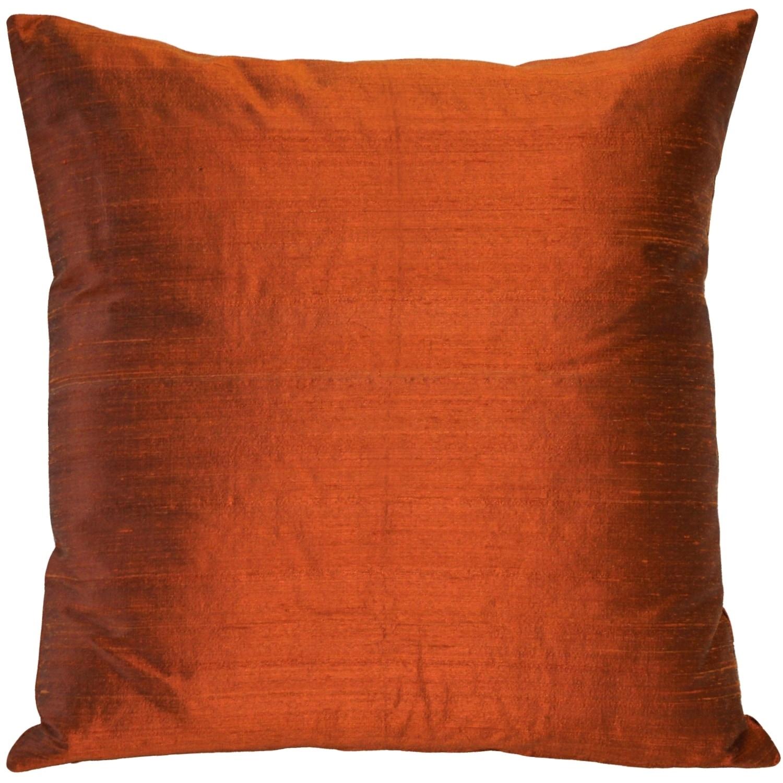 75787152896 Shop Pillow Décor - Sankara Burnt Orange Silk Throw Pillow 18x18 ...