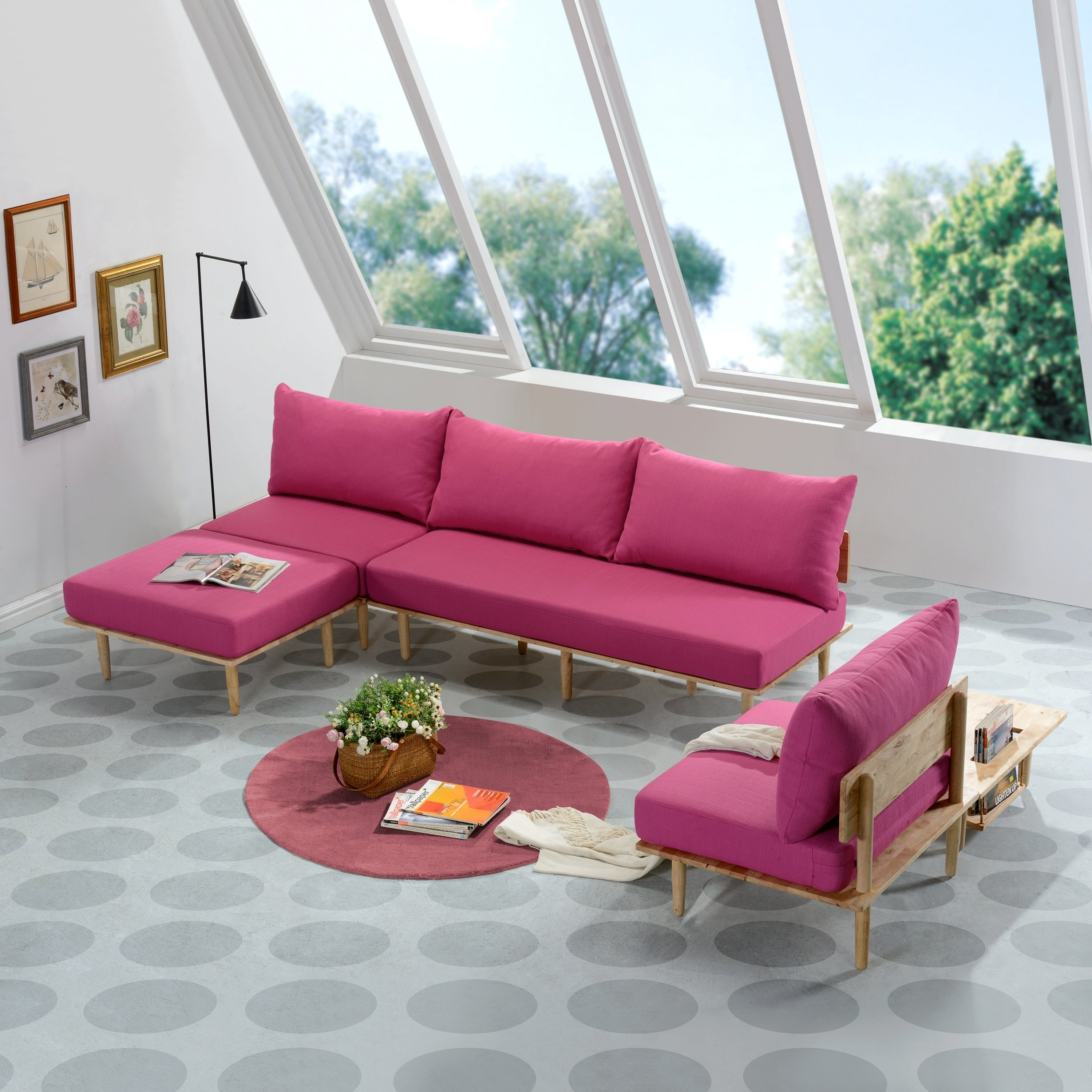 Handy Living Fundamentals 5 Piece Fuchsia Pink Linen Room Set On Free Shipping Today 22807018