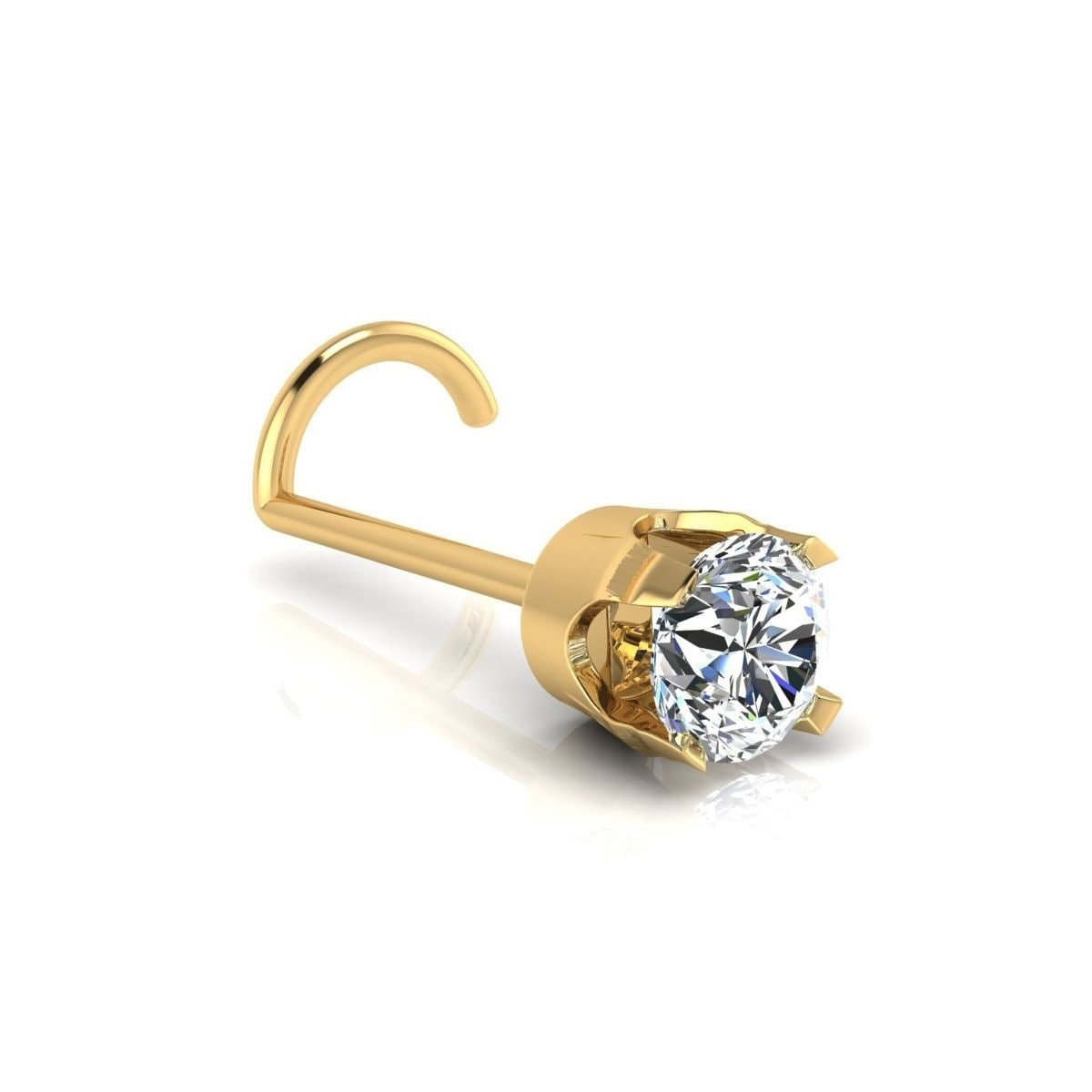 e2bff33ef Shop 0.03ct 2mm Diamond Stud Nose Ring In 14K Yellow Gold - On Sale - Free  Shipping Today - Overstock - 22814800