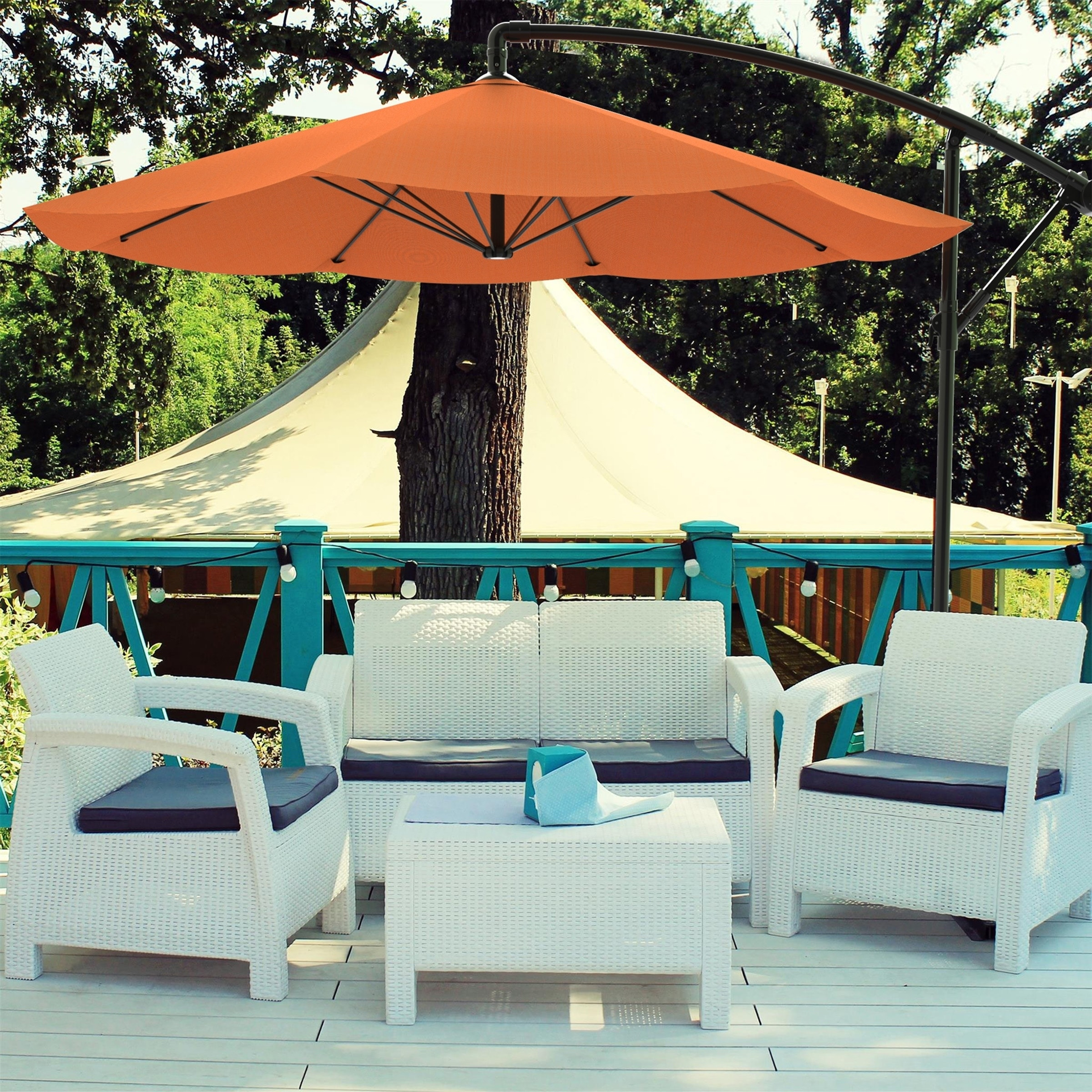 Shop Patio Umbrella, Cantilever Hanging Outdoor Shade  Easy Crank And Base  For Table 10 Ft By Pure Garden   Free Shipping Today   Overstock.com    22814868