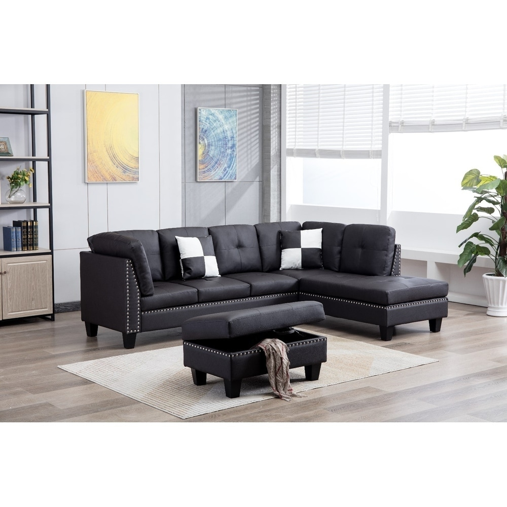Shop faux leather nail head sectional sofa with storage ottoman free shipping today overstock 22815461