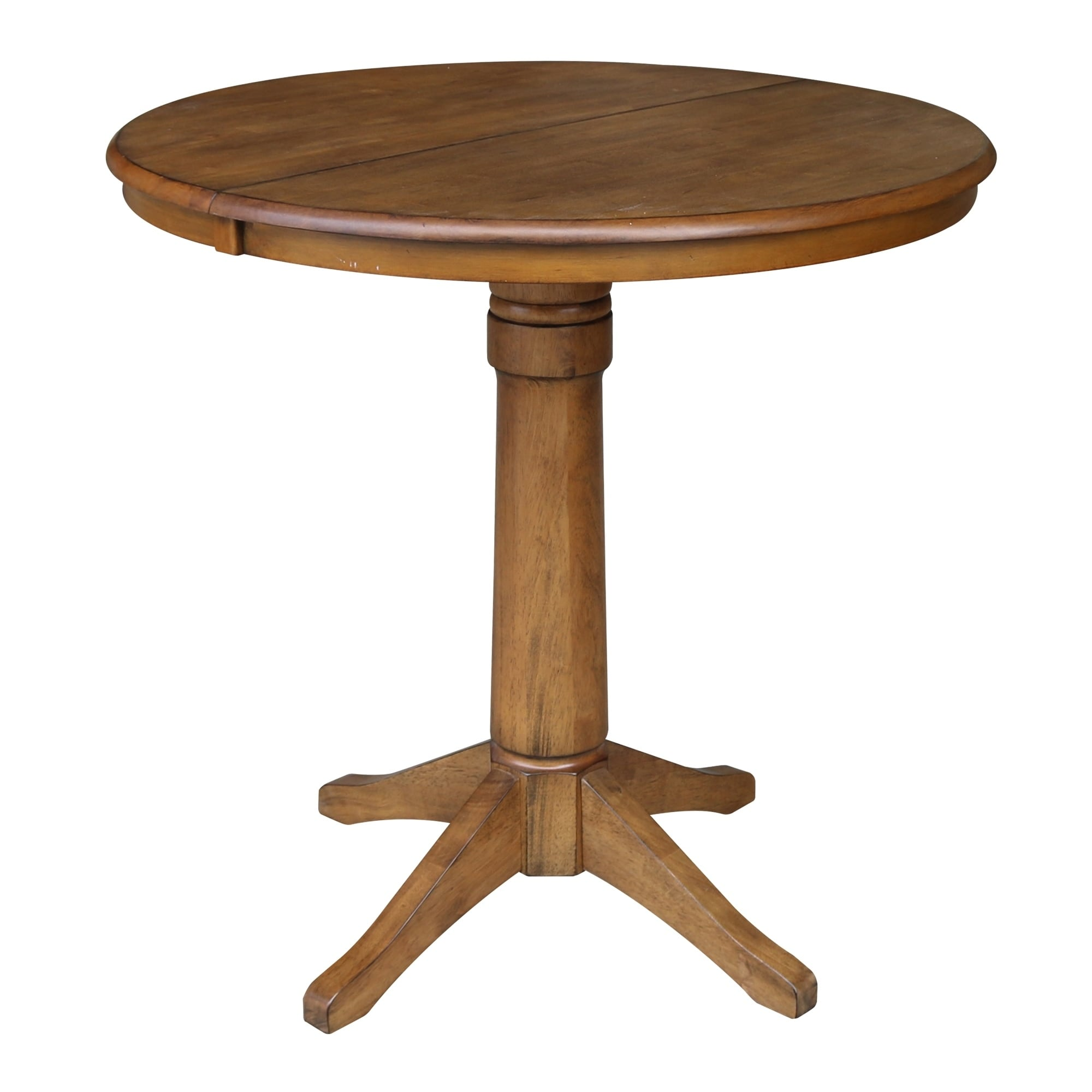 Shop 36 Round Pedestal Dining Table With 12 Leaf Pecan On Sale