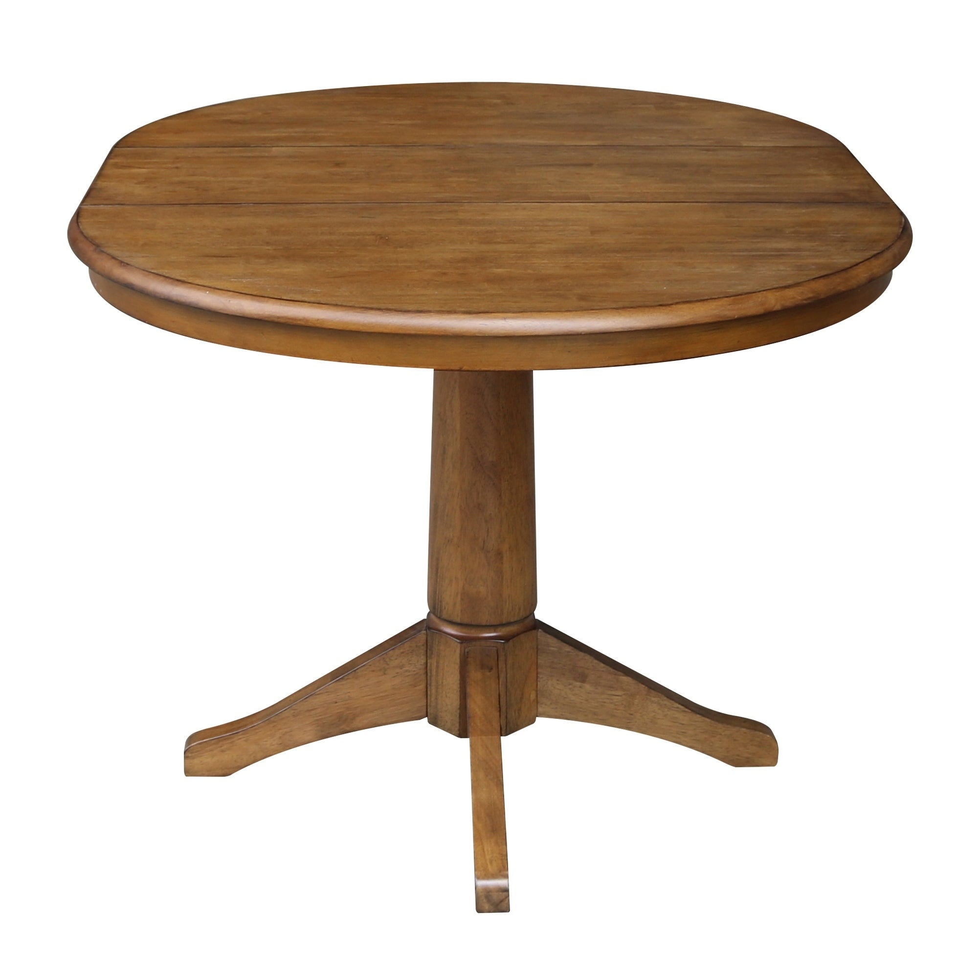 36 Round Pedestal Dining Table With 12 Leaf Pecan Free Shipping Today 22815520
