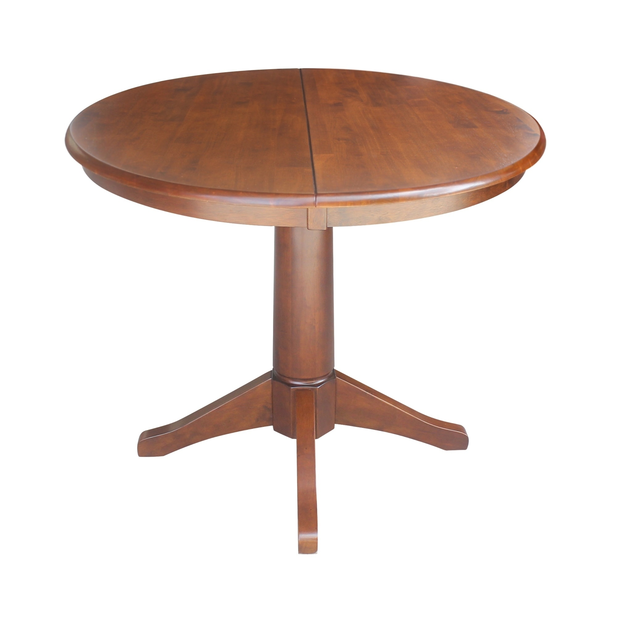 Shop 36 Round Pedestal Dining Table With 12 Leaf Espresso Free