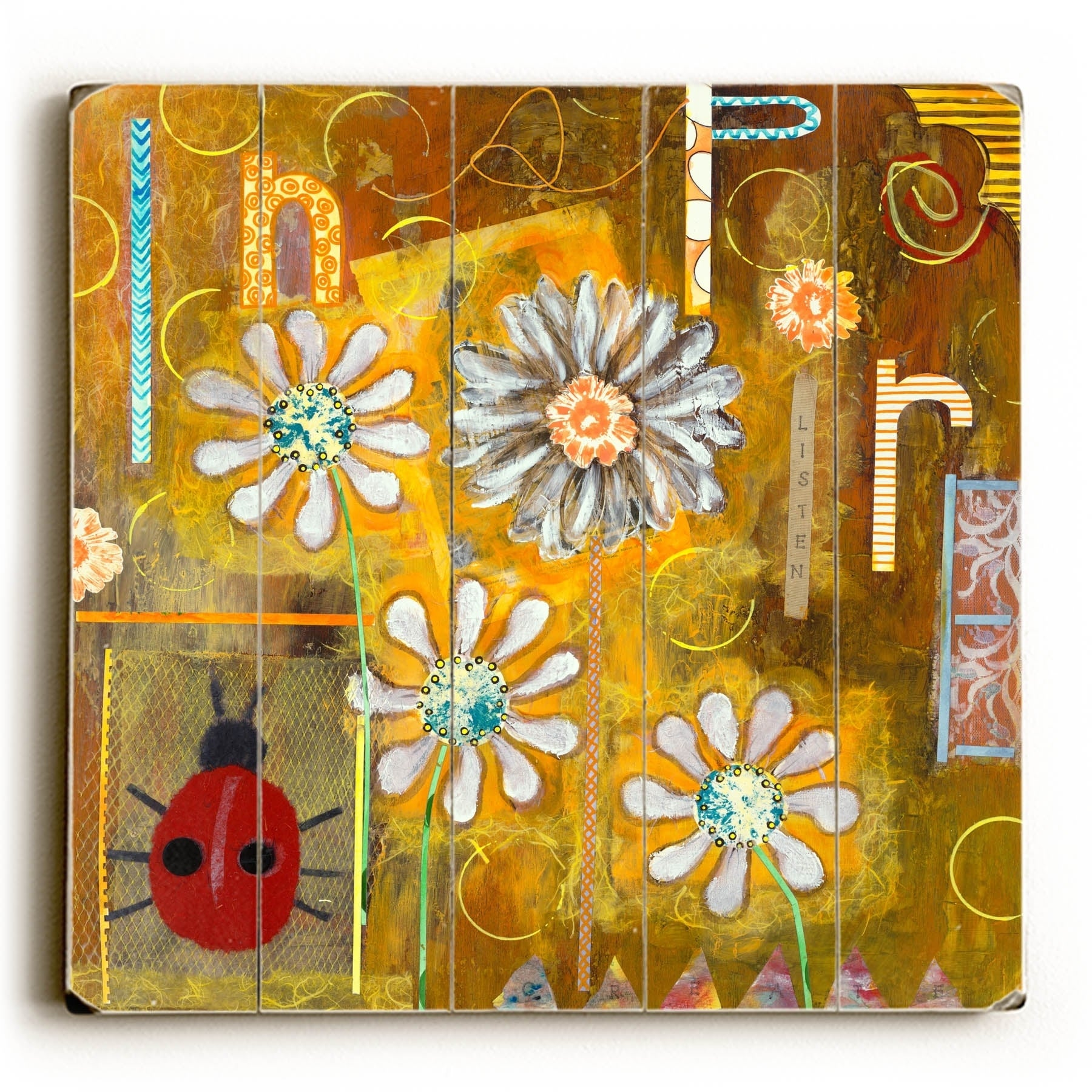 Shop Ladybug Collage - Planked Wood Wall Decor by KG Art Studio ...