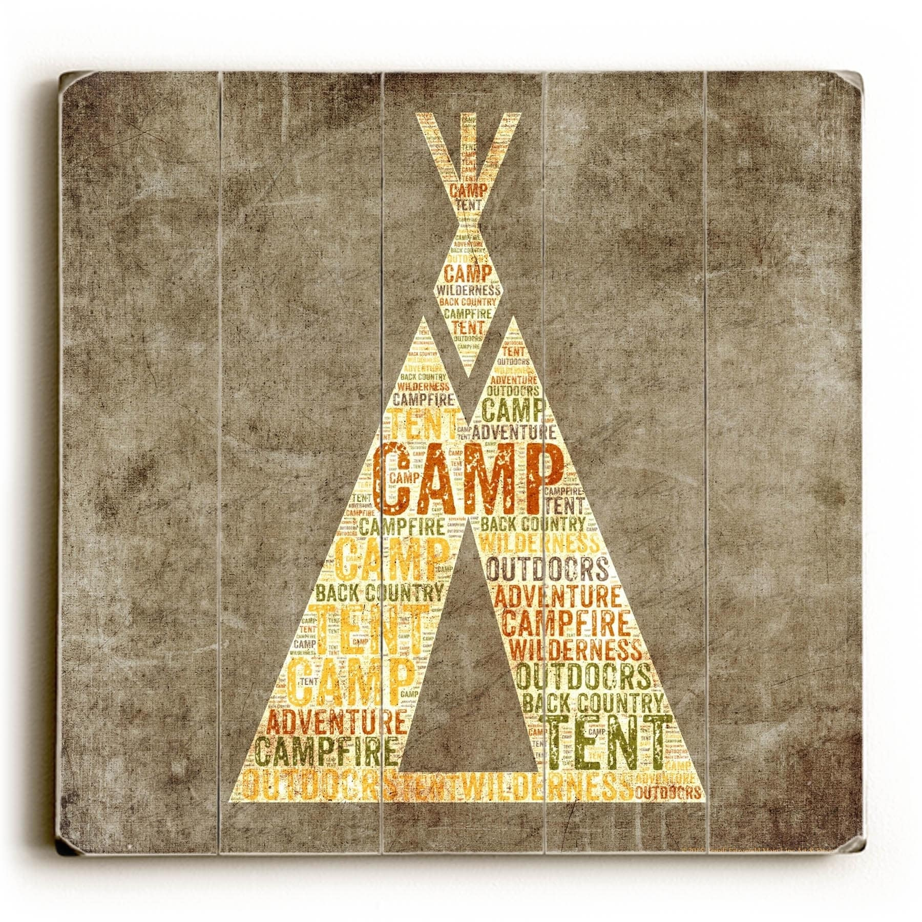 Shop Teepee Typography - Planked Wood Wall Decor by Mainline Art ...