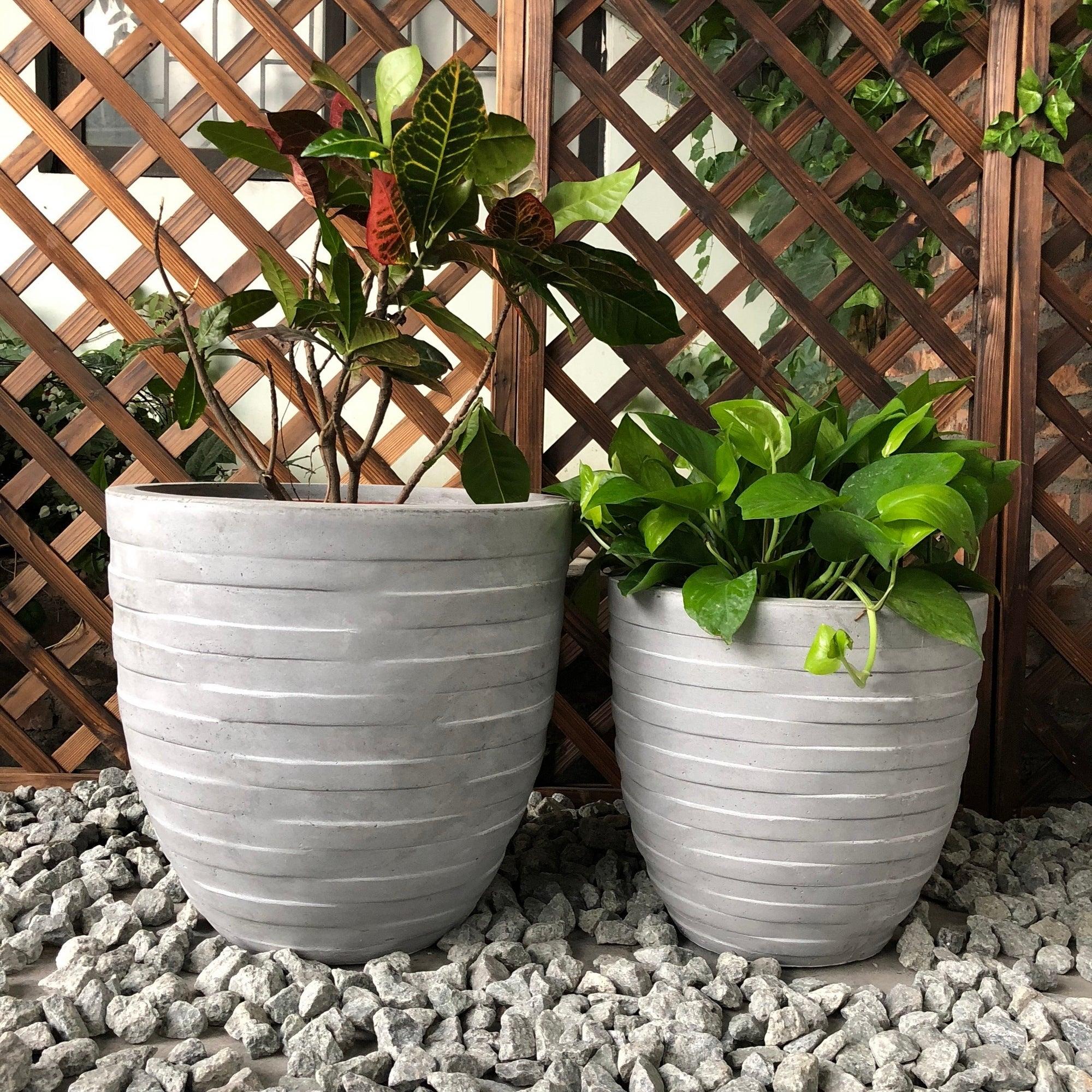 Durx Litecrete Lightweight Concrete Wicker Basket Weave Round Light Grey Planter Set Of 2 8 X 10 Free Shipping Today 22818370