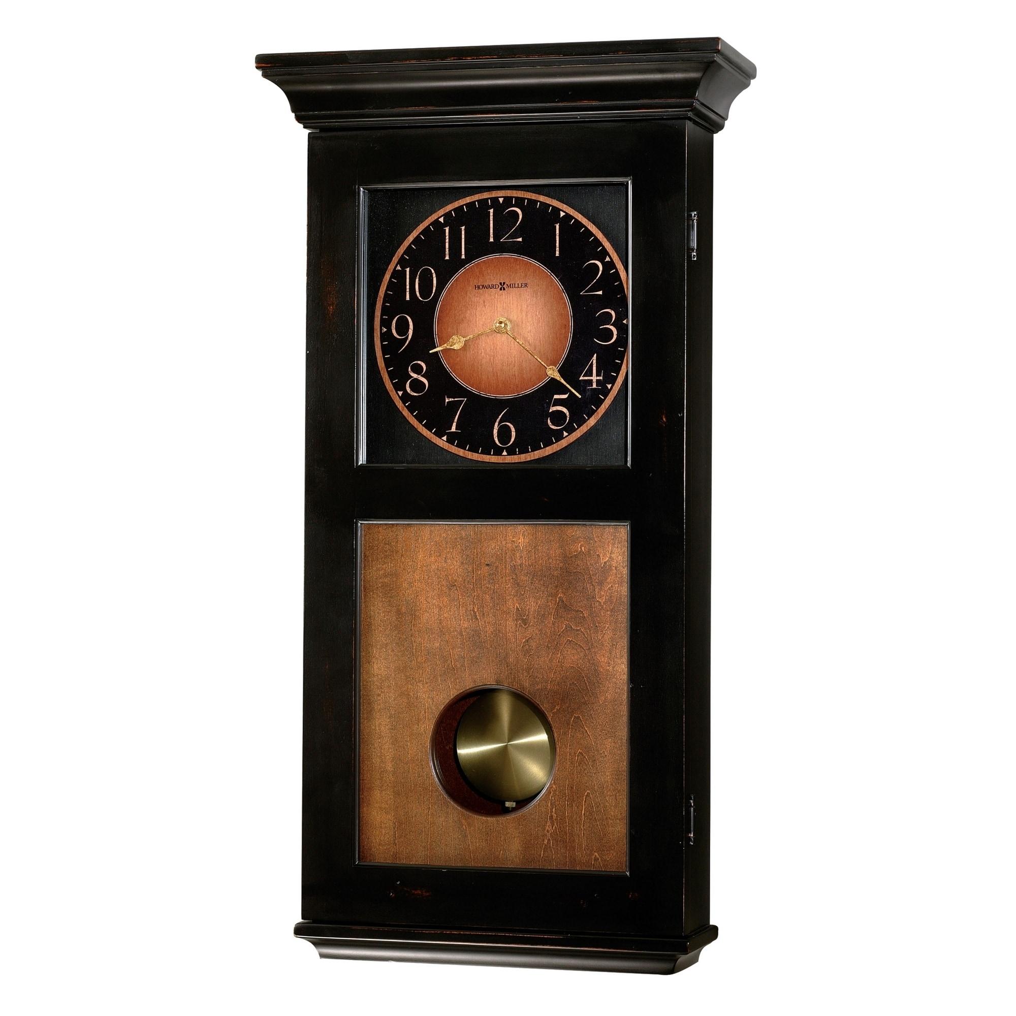 Shop Howard Miller Corbin Black Wood Chiming Pendulum Wall Clock
