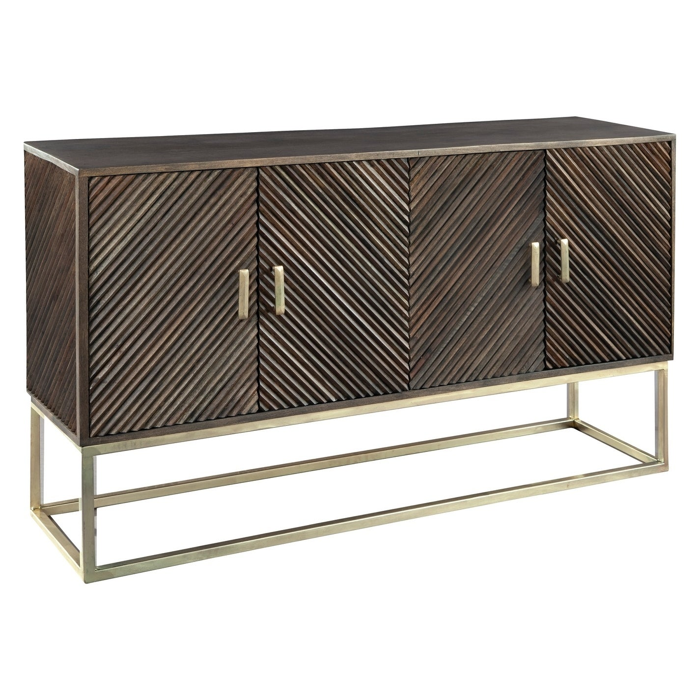 Shop hekman furniture chevron door contemporary modern glam and chic storage cabinet liquor cabinet or console free shipping today overstock com