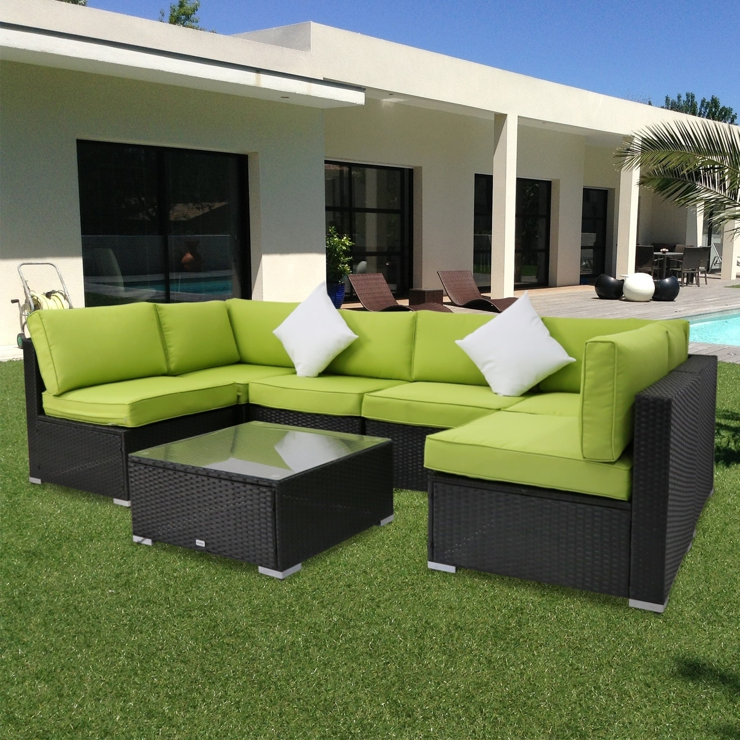 Shop kinbor 7 pcs all weather outdoor furniture patio sectional furniture set cushioned rattan wicker sofa set ships to canada overstock ca 22821744