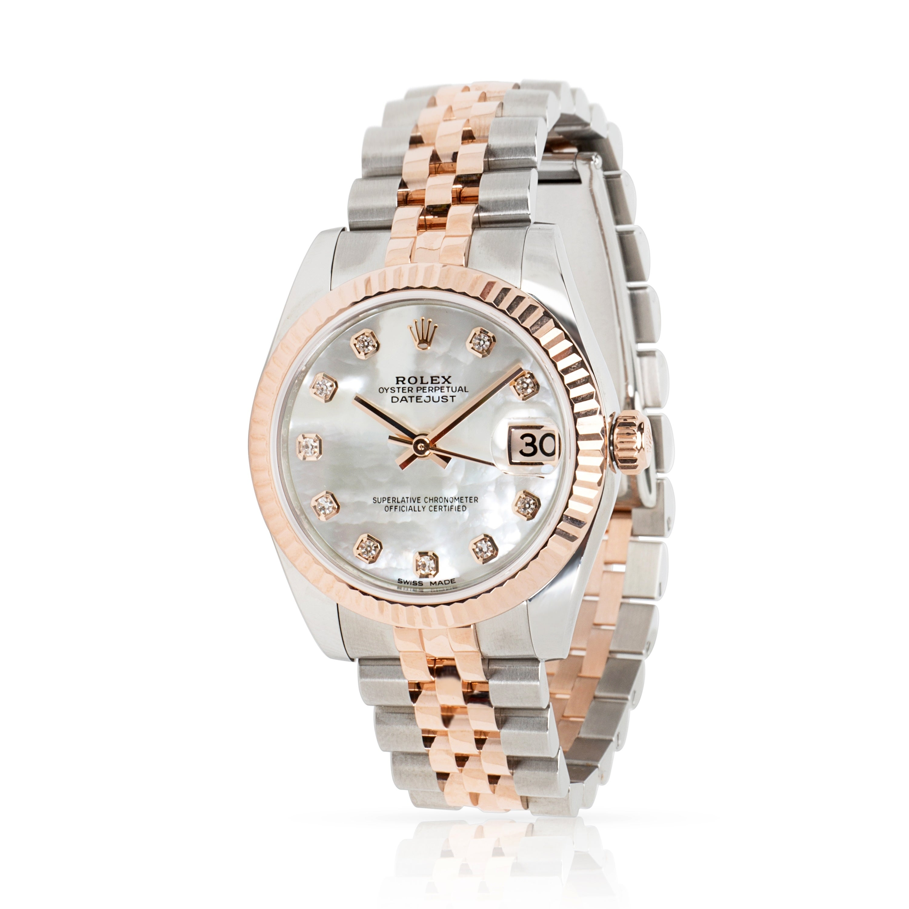 75e3235bffd Pre-Owned Rolex Datejust 178271 Unisex Watch in 18kt Stainless Steel/Rose  Gold