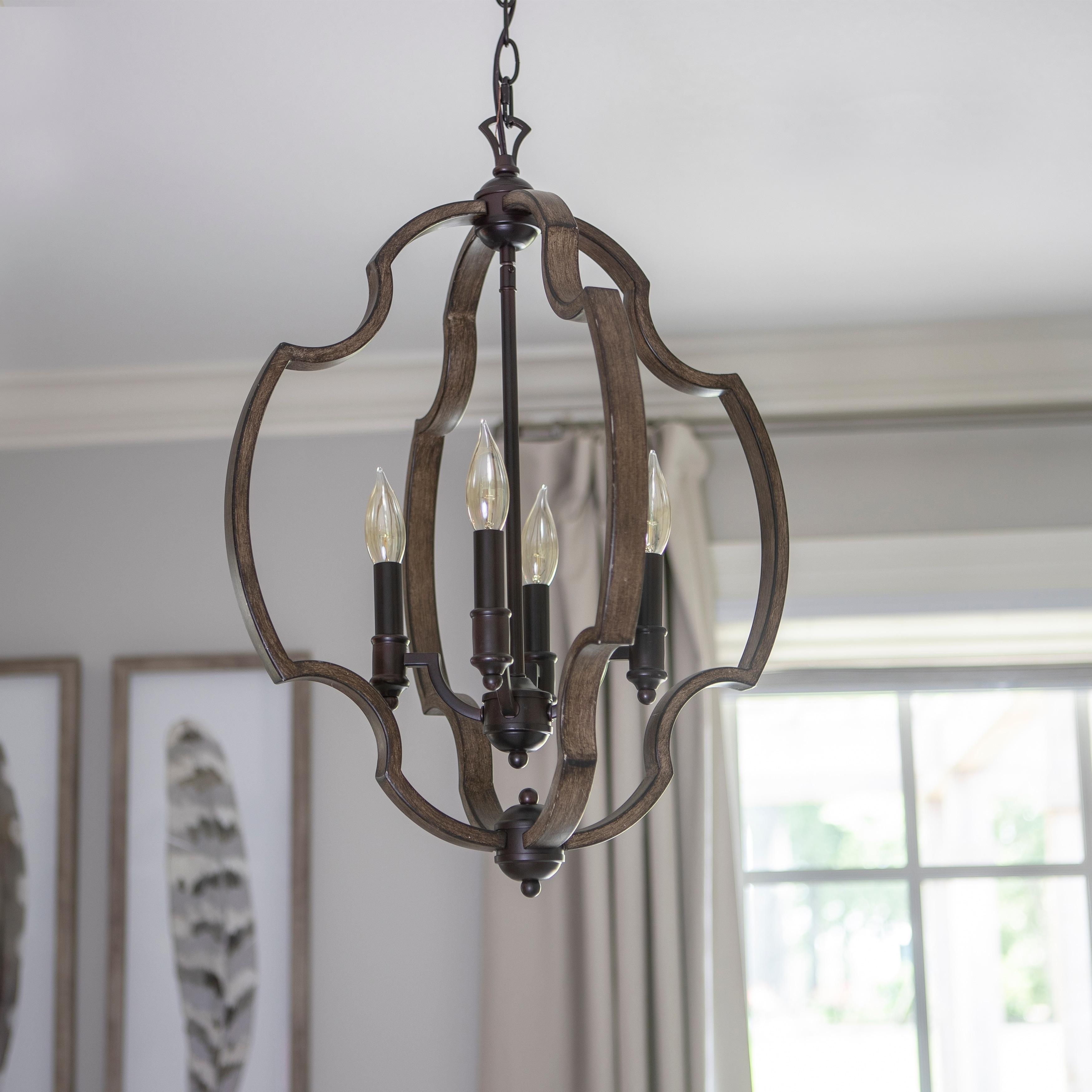 Shop Walken Bronze Metal/Wood Orb 4-light Pendant - Free Shipping ...