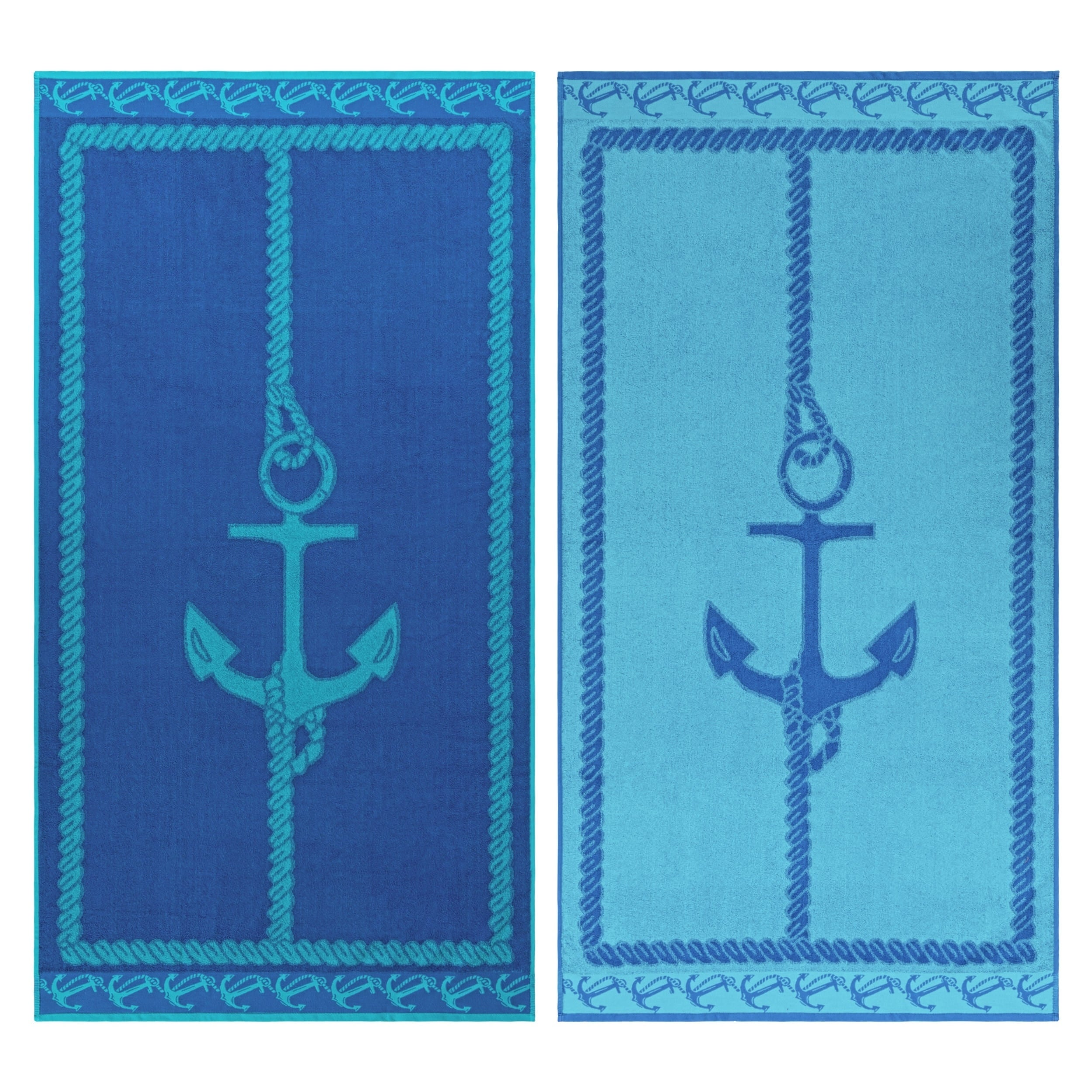 Shop Superior Egyptian Cotton Fisherman Anchor Striped Beach Towel ...