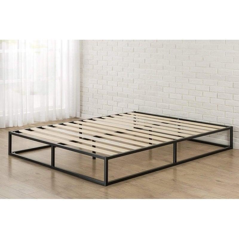 Shop Twin/Full/Queen/King Wood Slat Mattress Metal Platform Bed ...